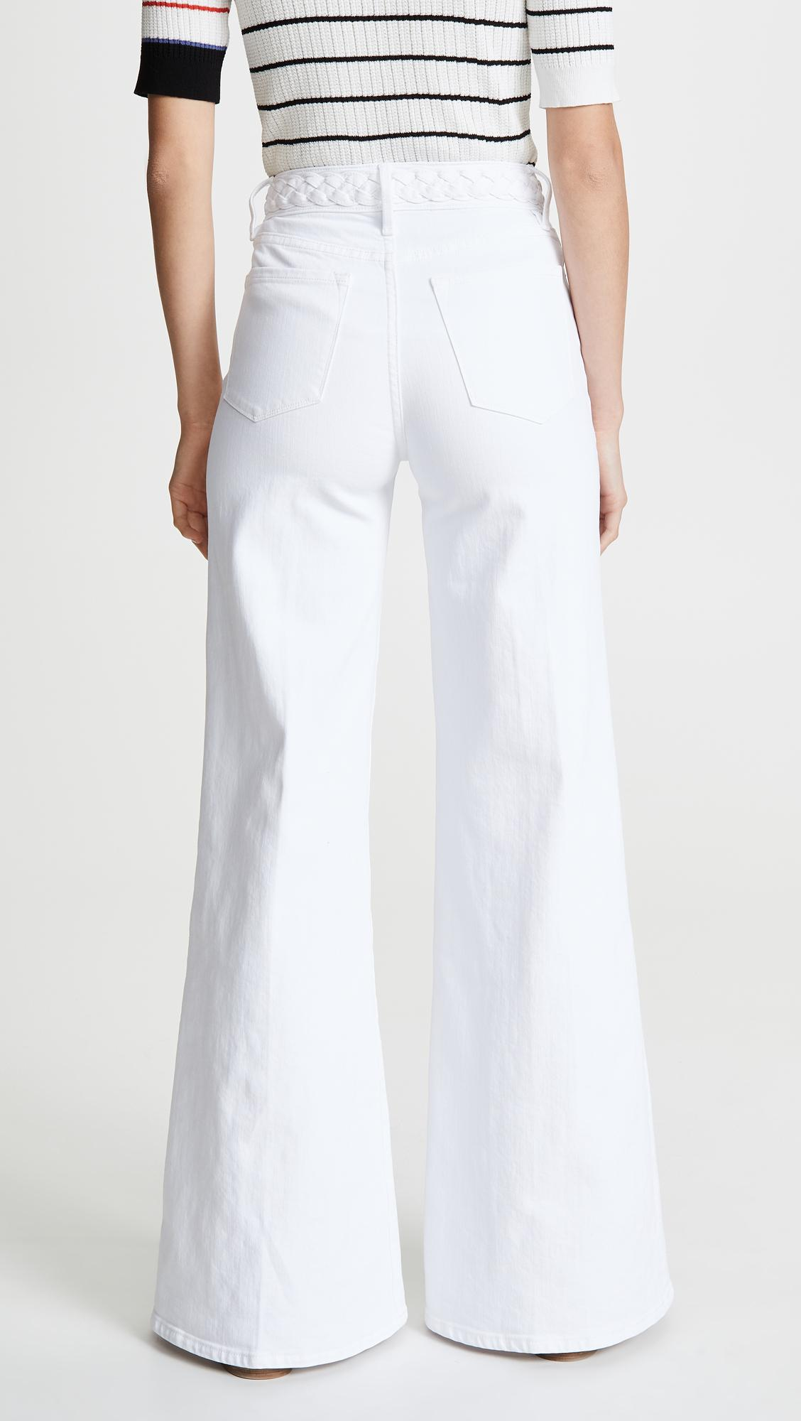 619435f24a FRAME - White Le Palazzo Braided Waistband Jeans - Lyst. View fullscreen