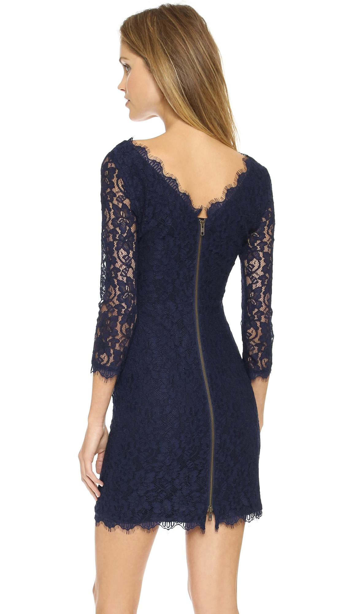 Diane von furstenberg zarita lace dress in blue lyst for Diane von furstenberg clothes