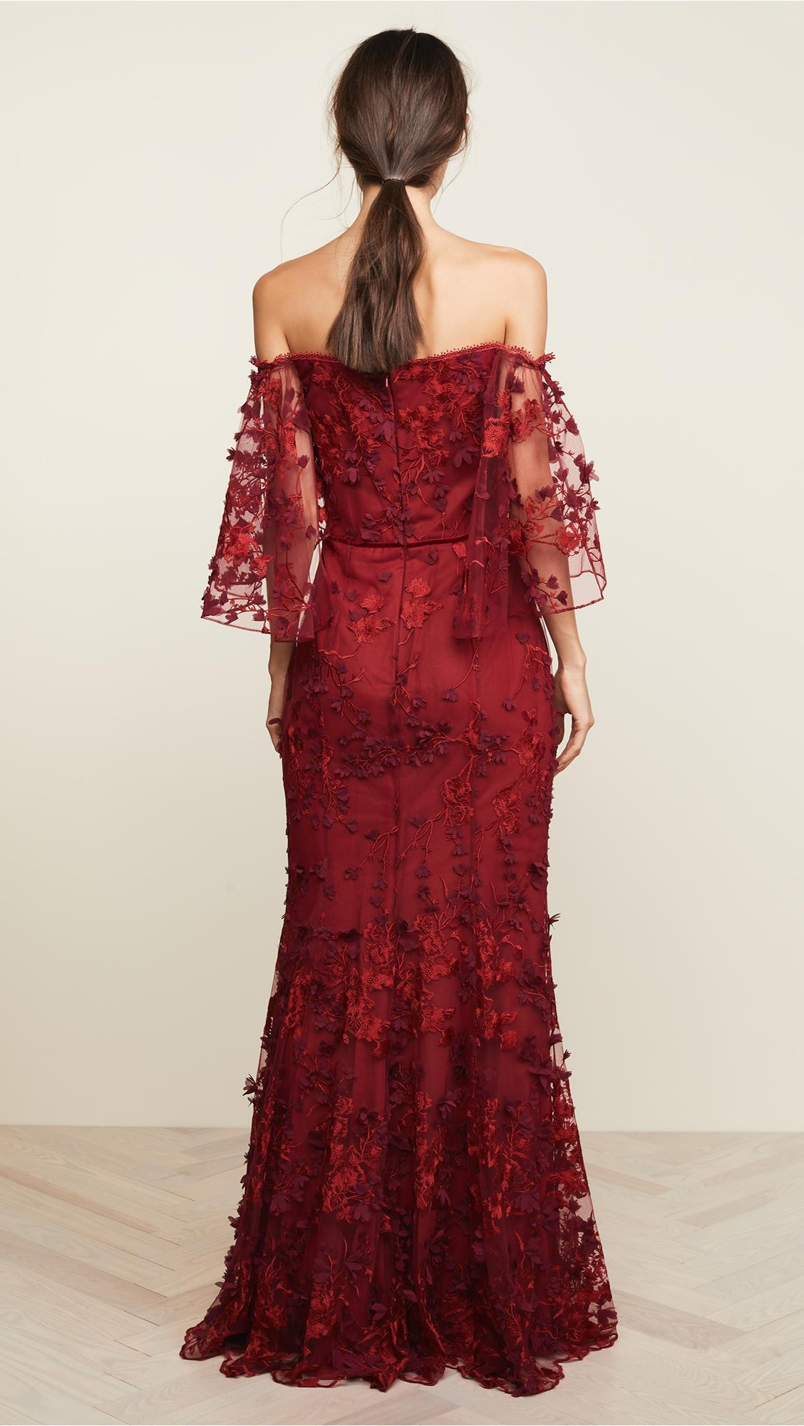 1170de3ceb99f1 Marchesa notte - Off-the-shoulder Embroidered Appliquéd Tulle Gown Red Us10  - Lyst. View fullscreen