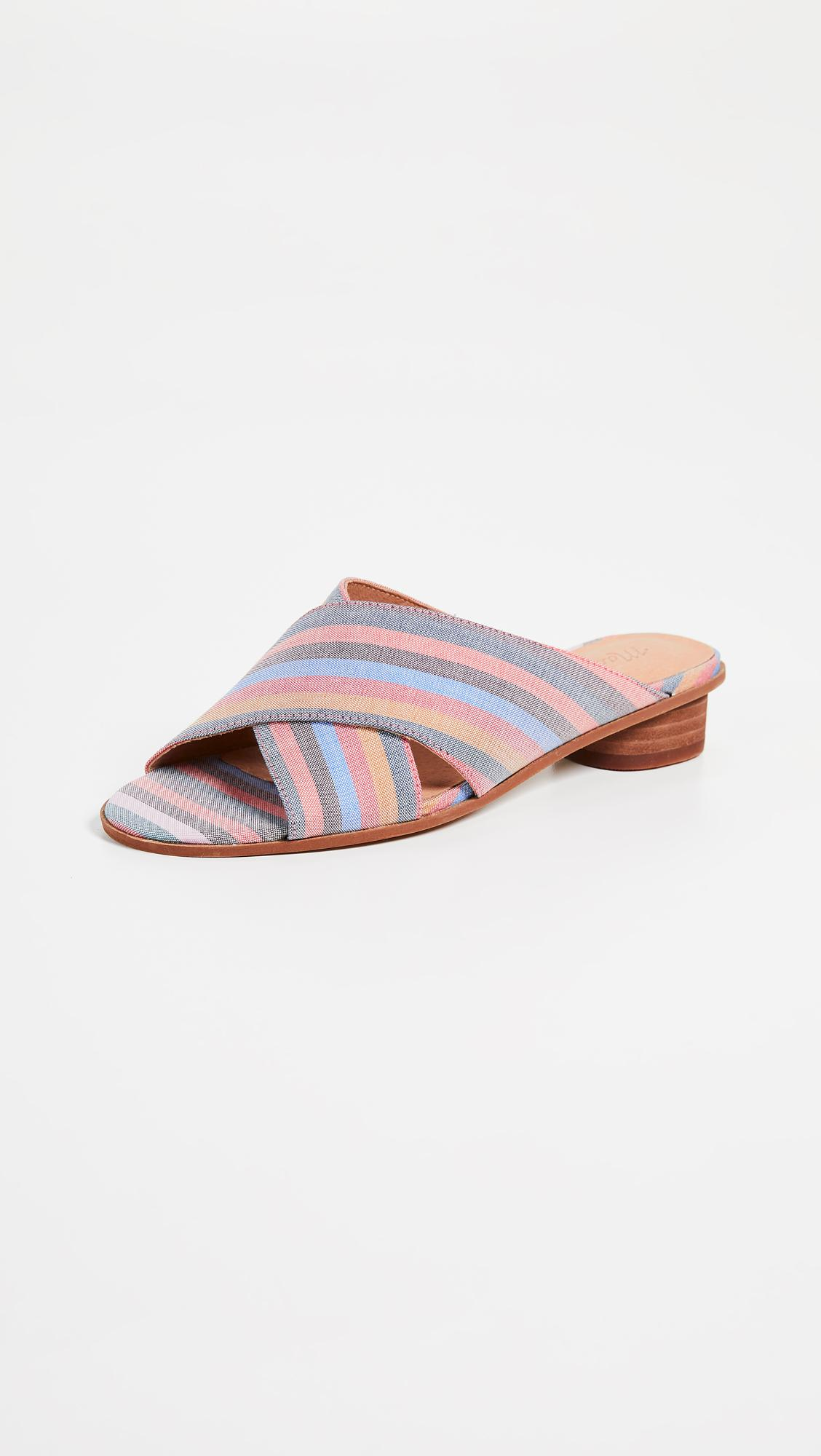 020657550 Madewell. Women s The Ruthie Crisscross Mules In Rainbow Stripe