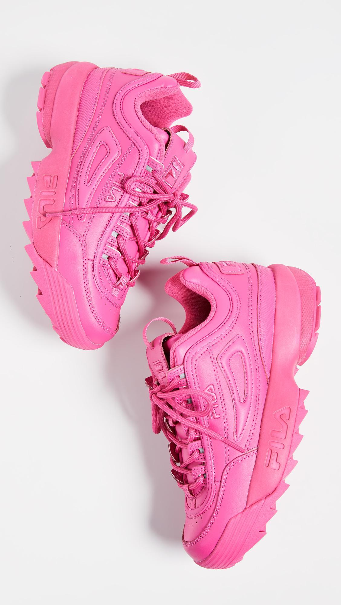 Fila Leather Disruptor Ii Premium Sneakers In Fuchsia