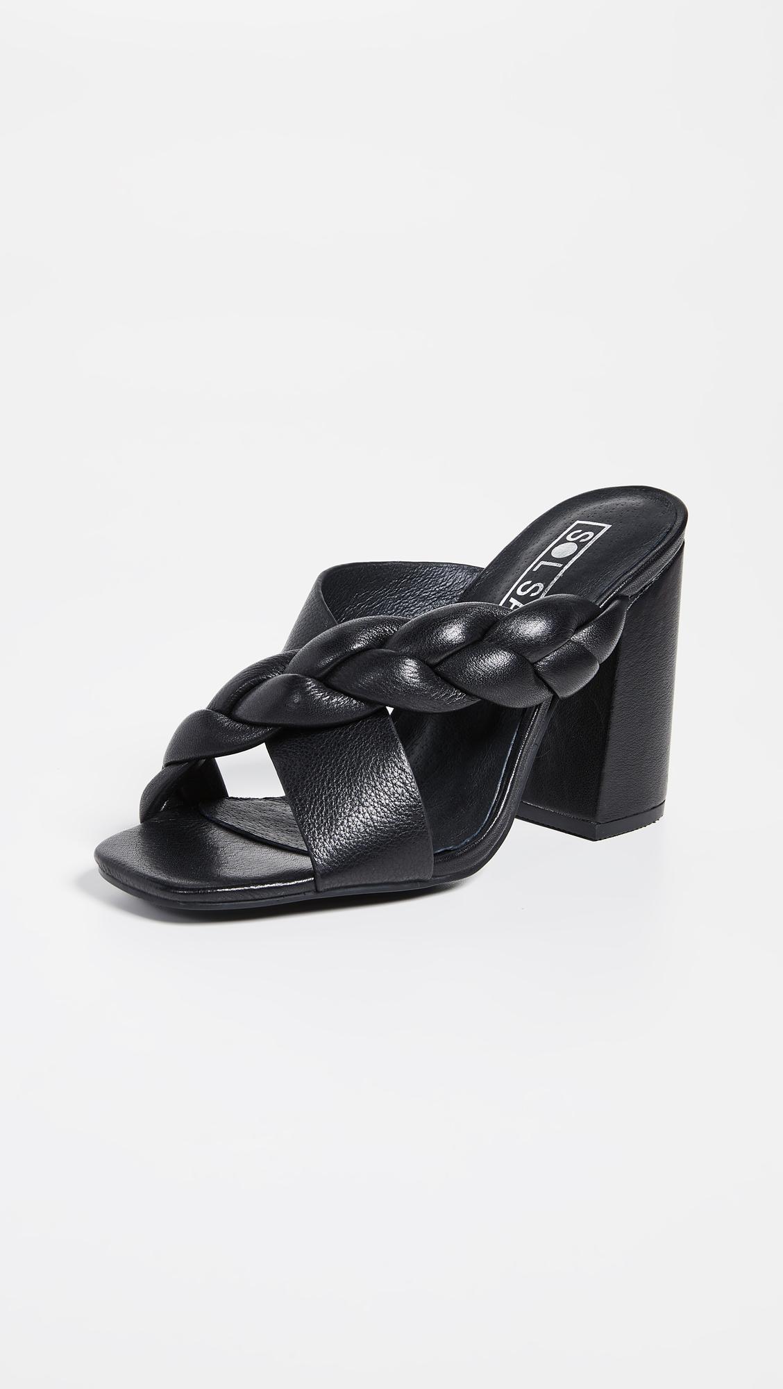 c2b347a04b113 Women's Black Jovy Block Heel Mules