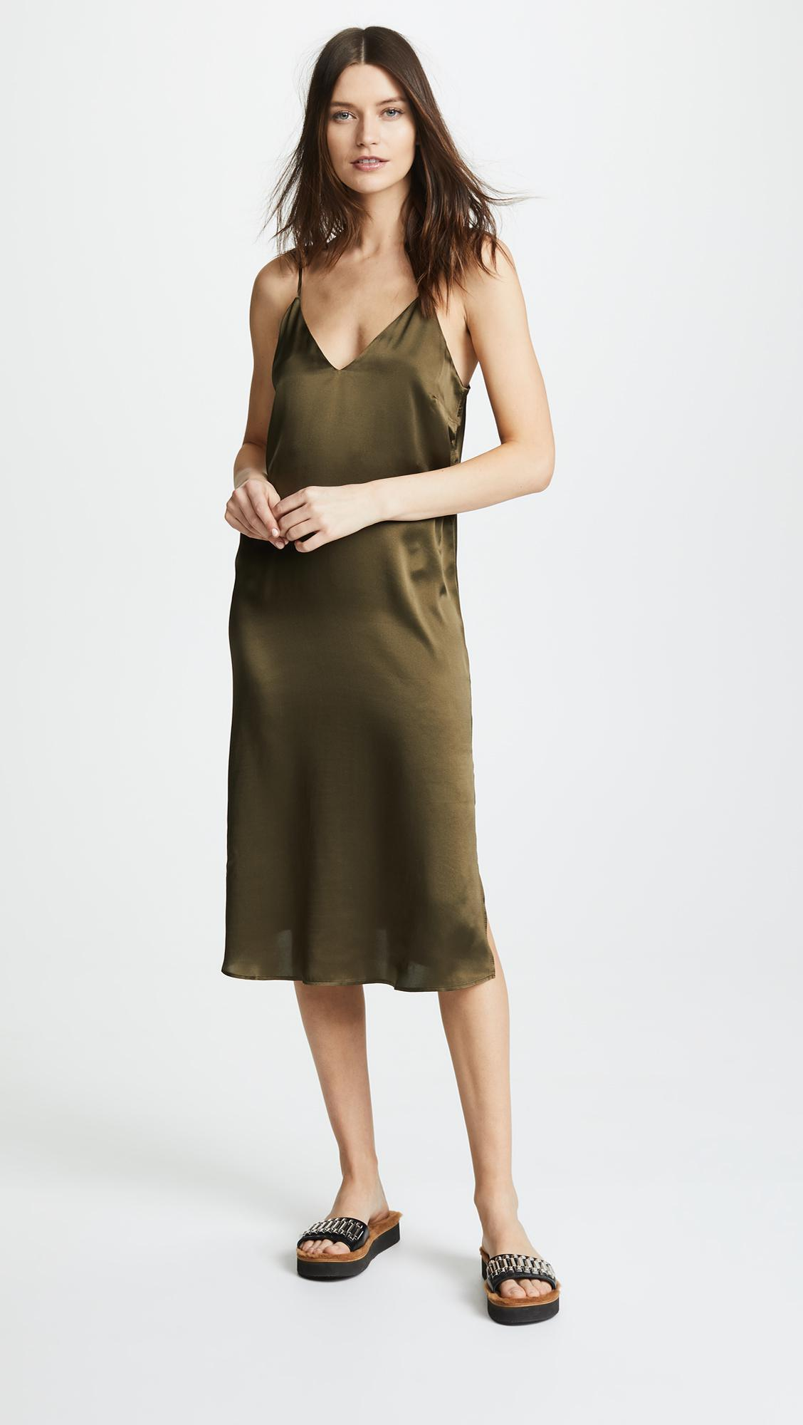 ce0b3760eb74 Anine Bing Gemma Slip Dress in Green - Lyst