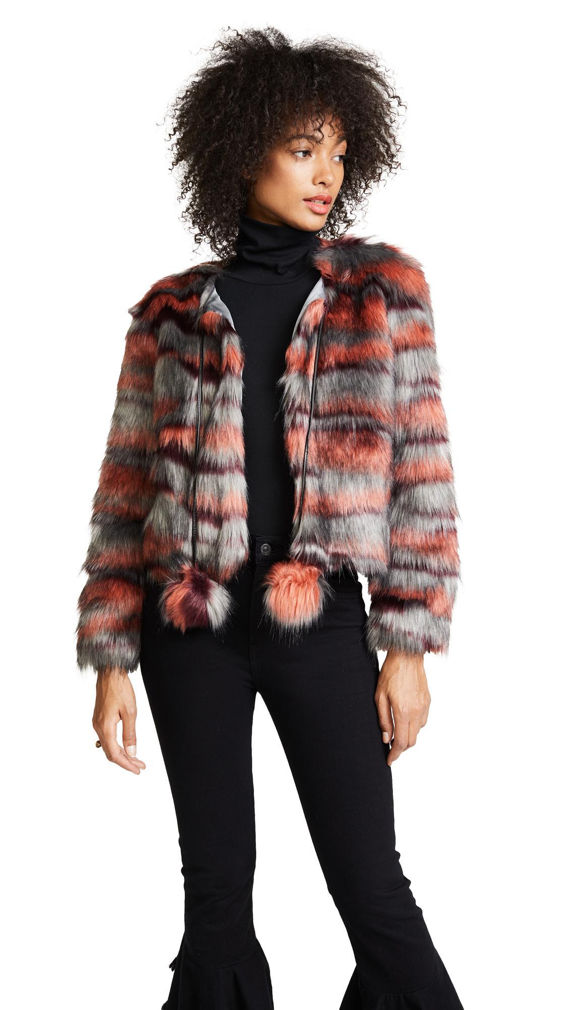 Ramy Brook Camo Faux Fur Krissy Jacket In Red Lyst