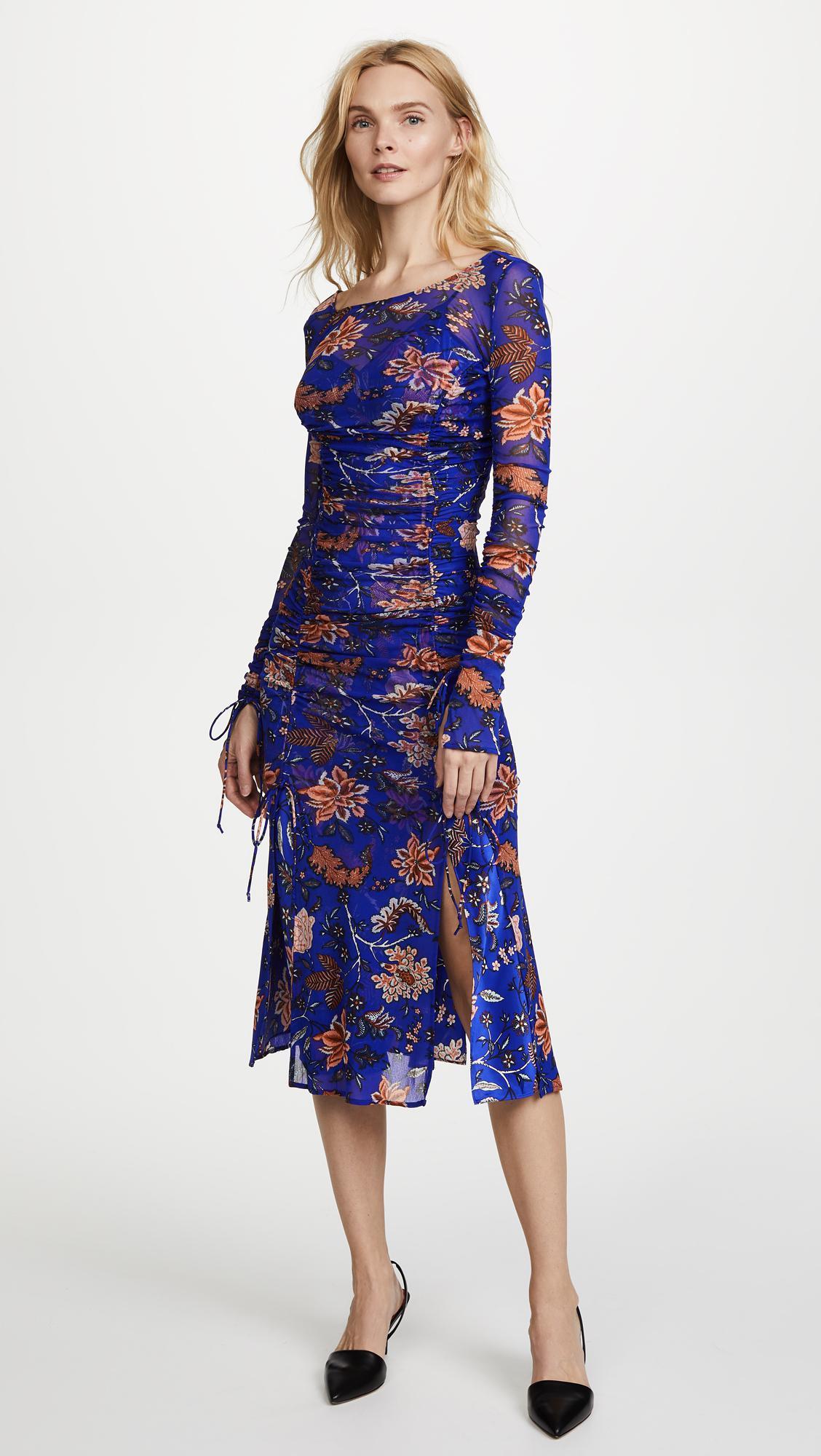 lyst diane von furstenberg overlay mesh dress in blue. Black Bedroom Furniture Sets. Home Design Ideas