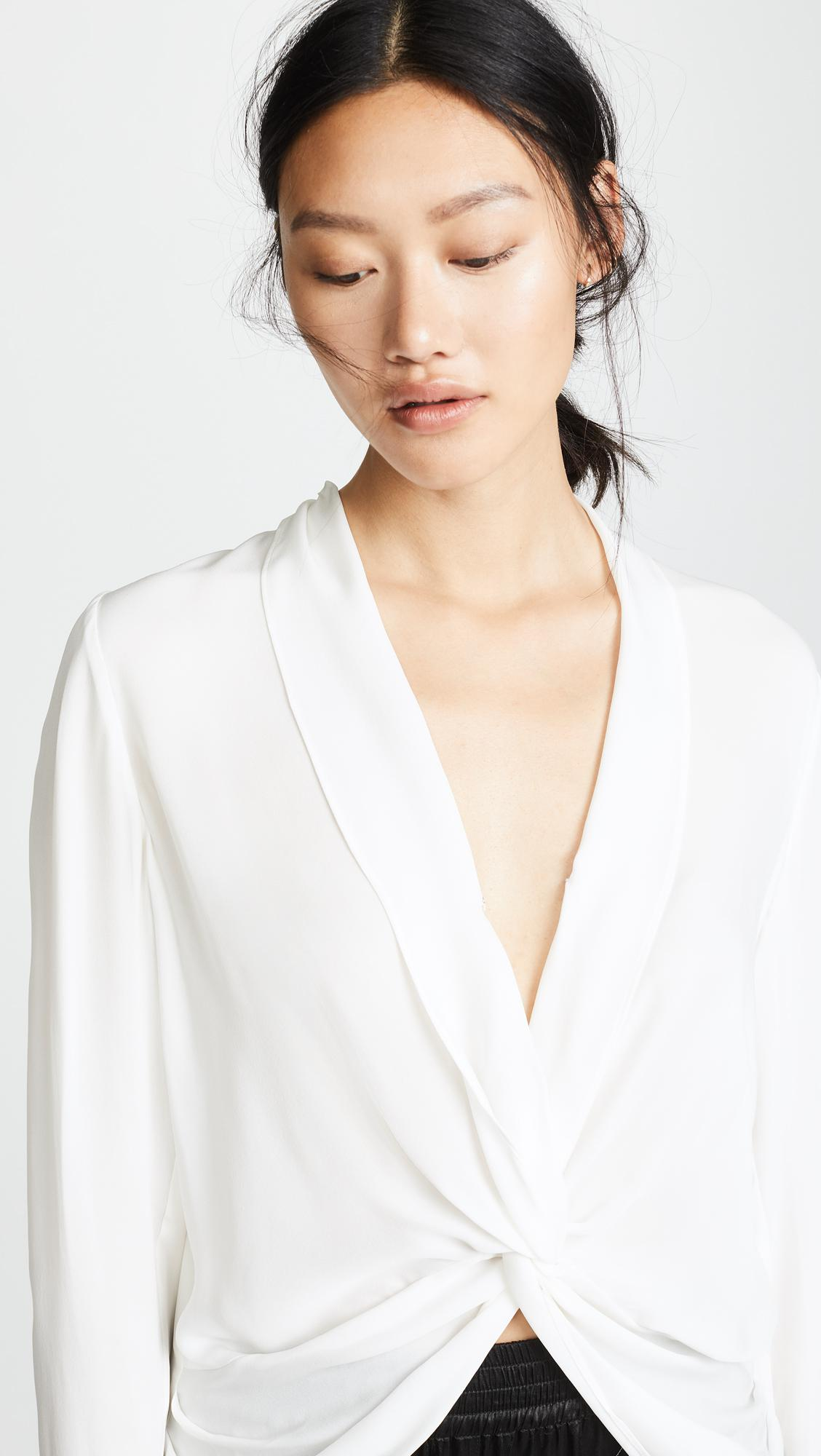 L'Agence Silk Mariposa Blouse in Ivory (White)