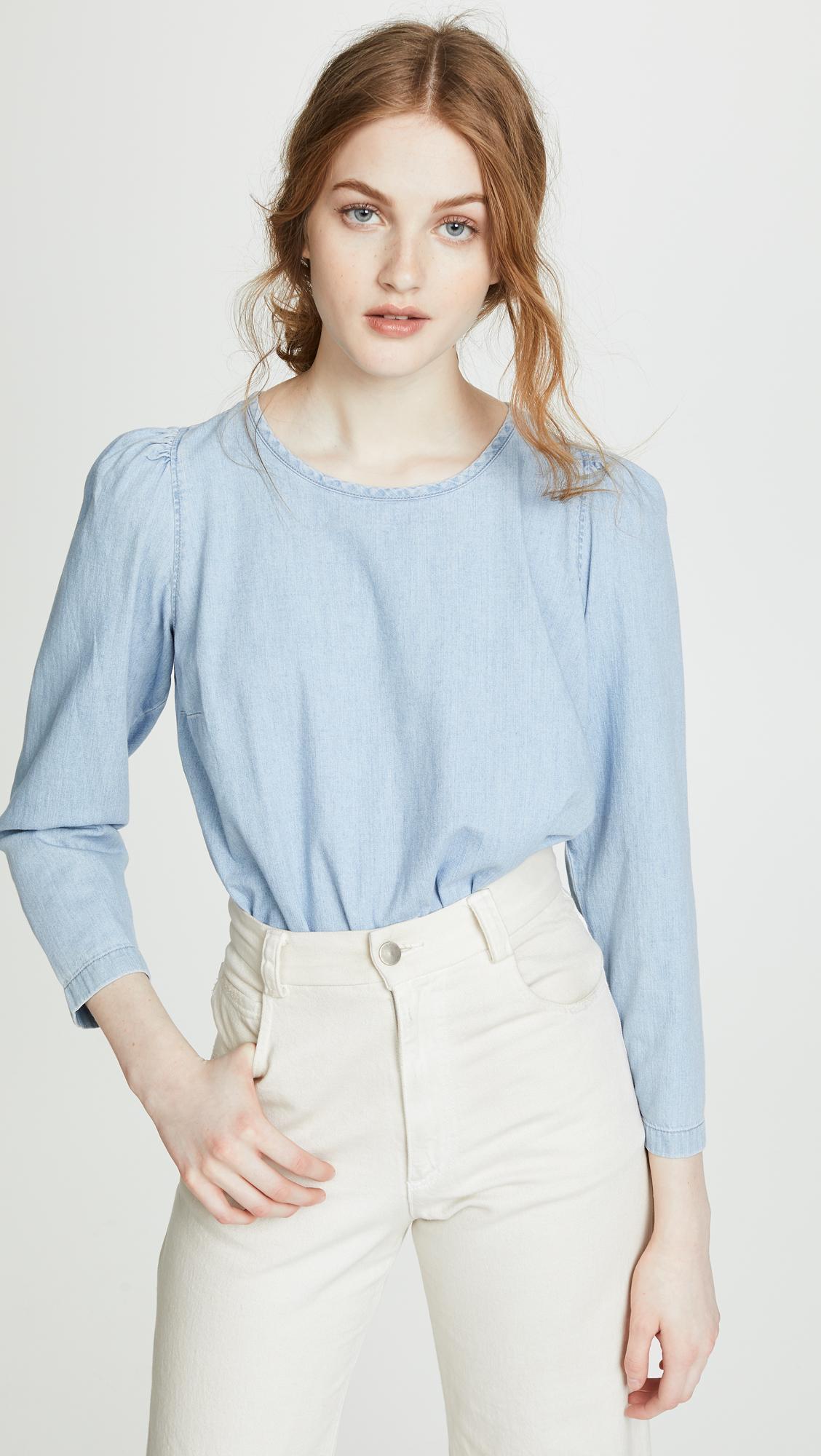 84607bc6ad Madewell - Blue Denim Puff Sleeve Swing Shirt - Lyst. View fullscreen