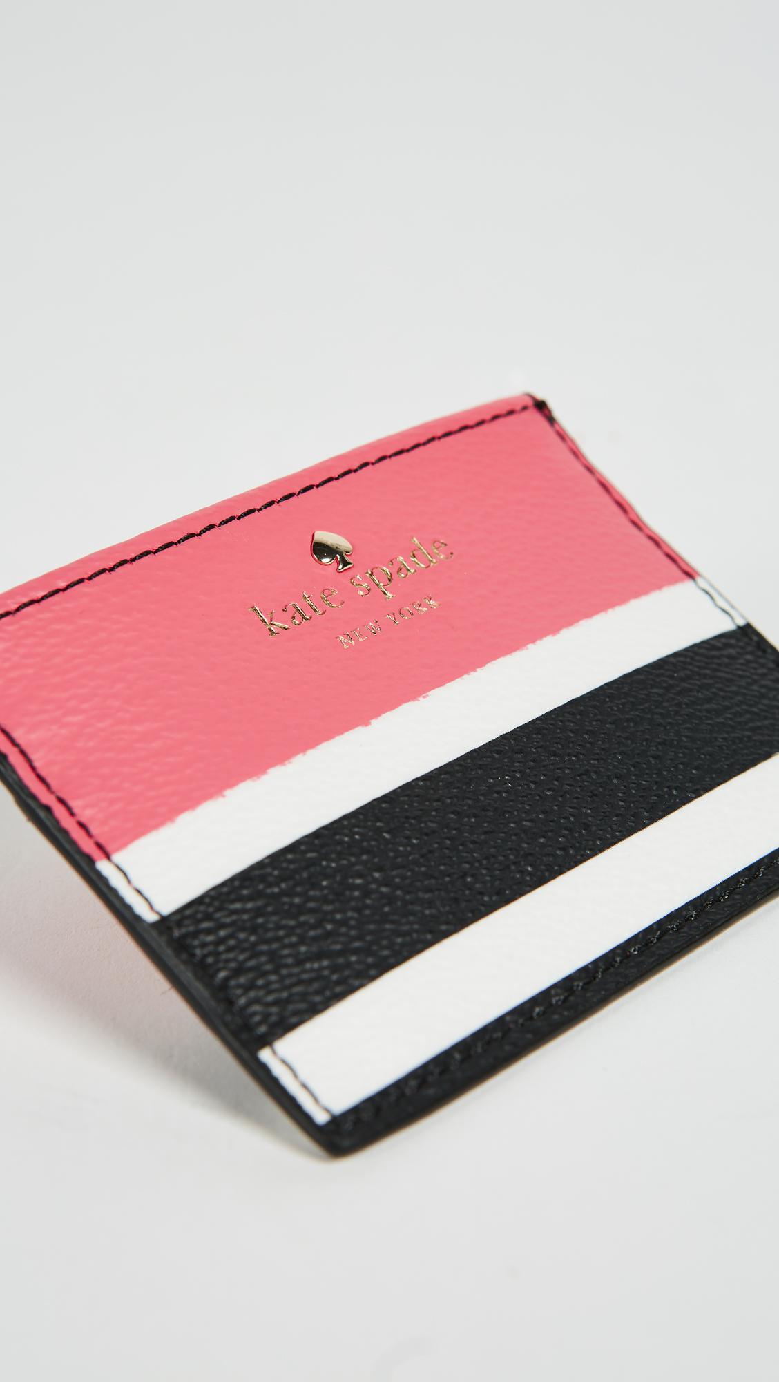 Lyst Kate Spade Hyde Lane Stripe Pop Card Holder
