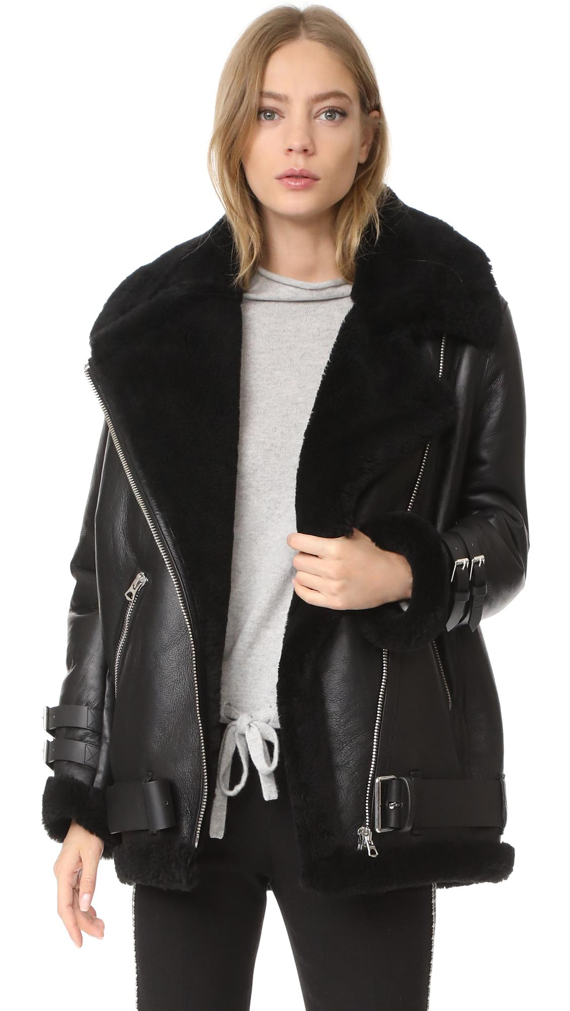 Acne Studios Leather Velocite Shearling Moto Jacket in ...