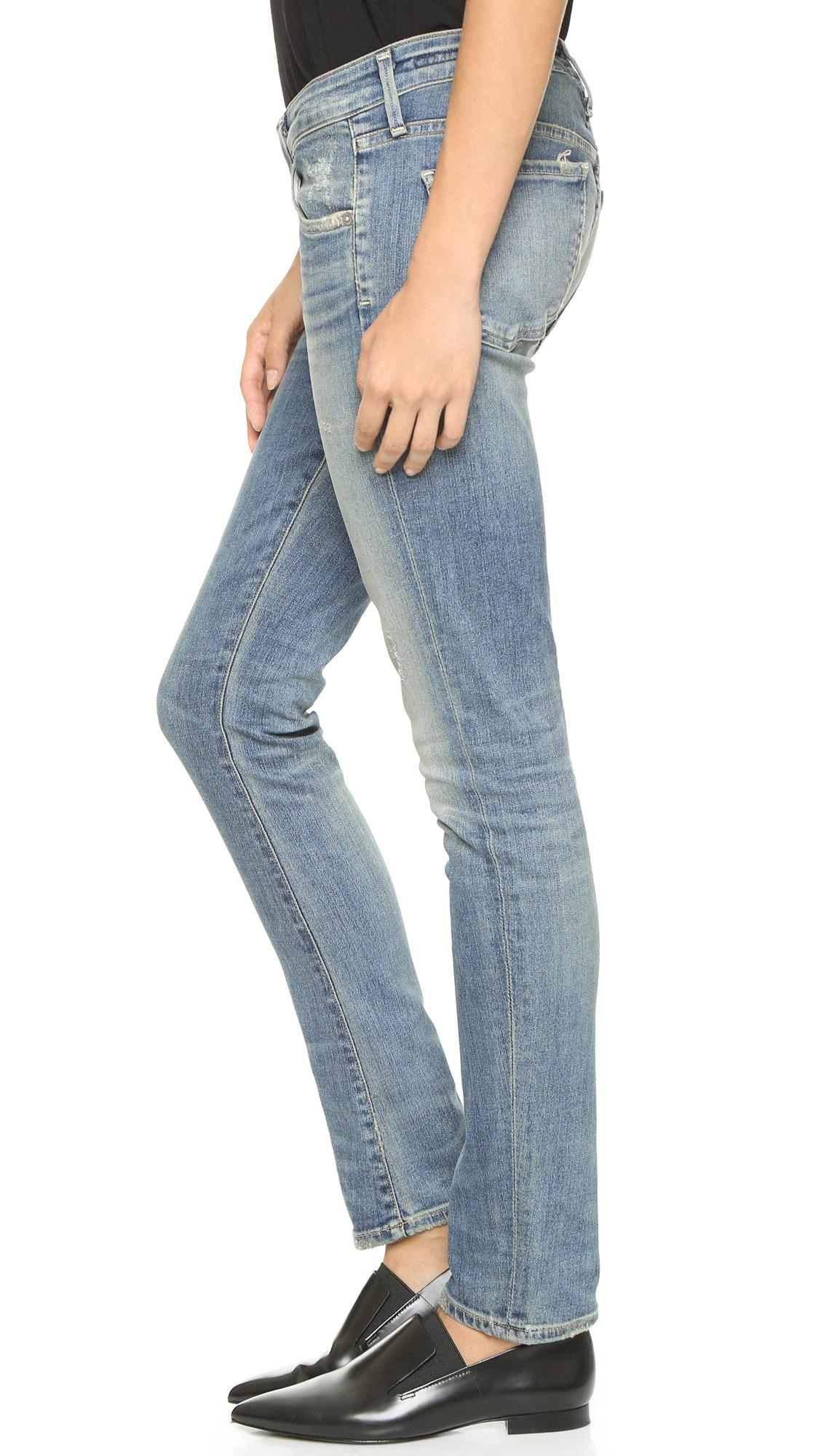 Citizens of Humanity Denim Racer Low Rise Skinny Jeans in Blue