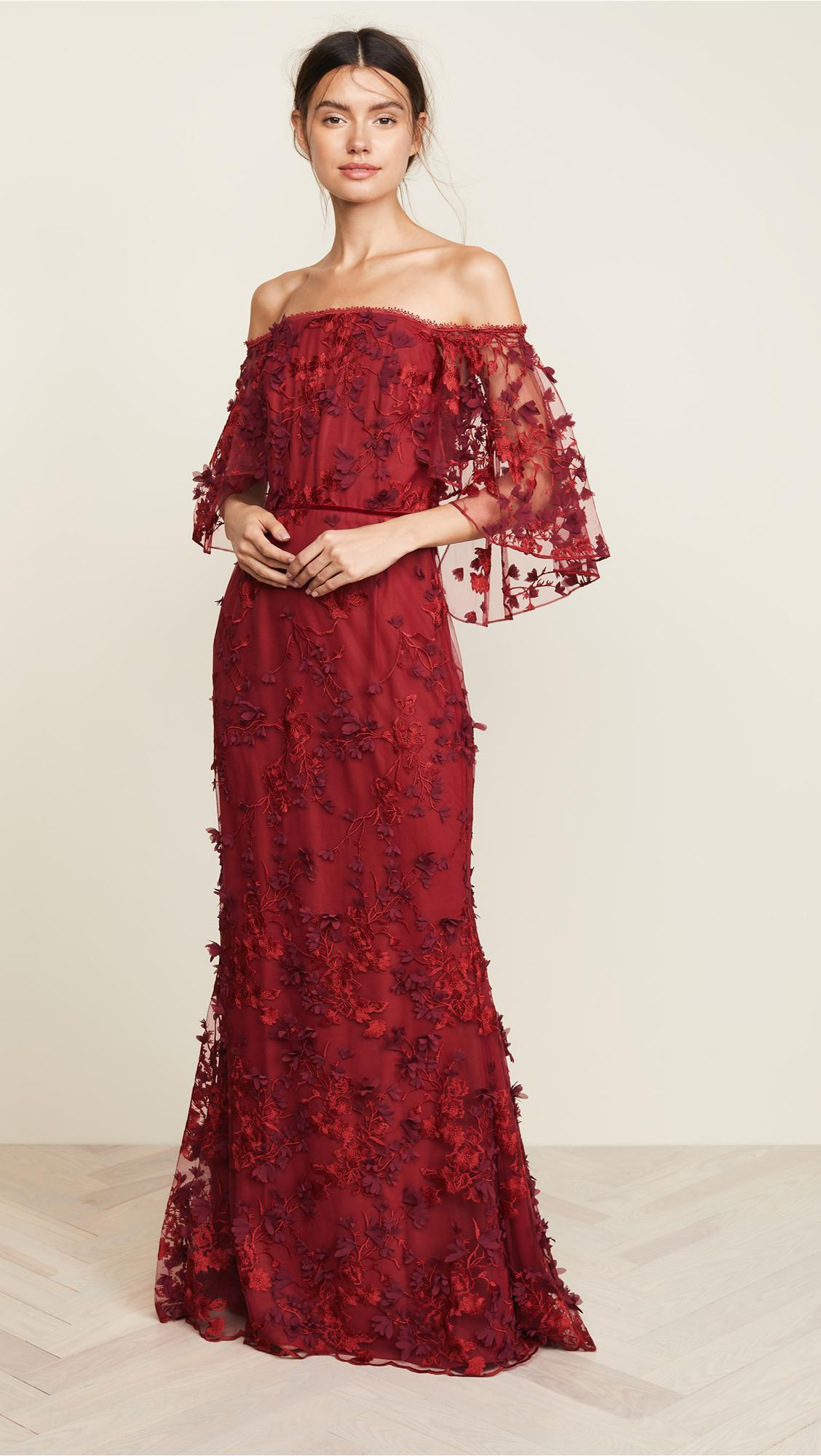 85007147 Marchesa notte. Women's Off-the-shoulder Embroidered Appliquéd Tulle Gown  Red Us12