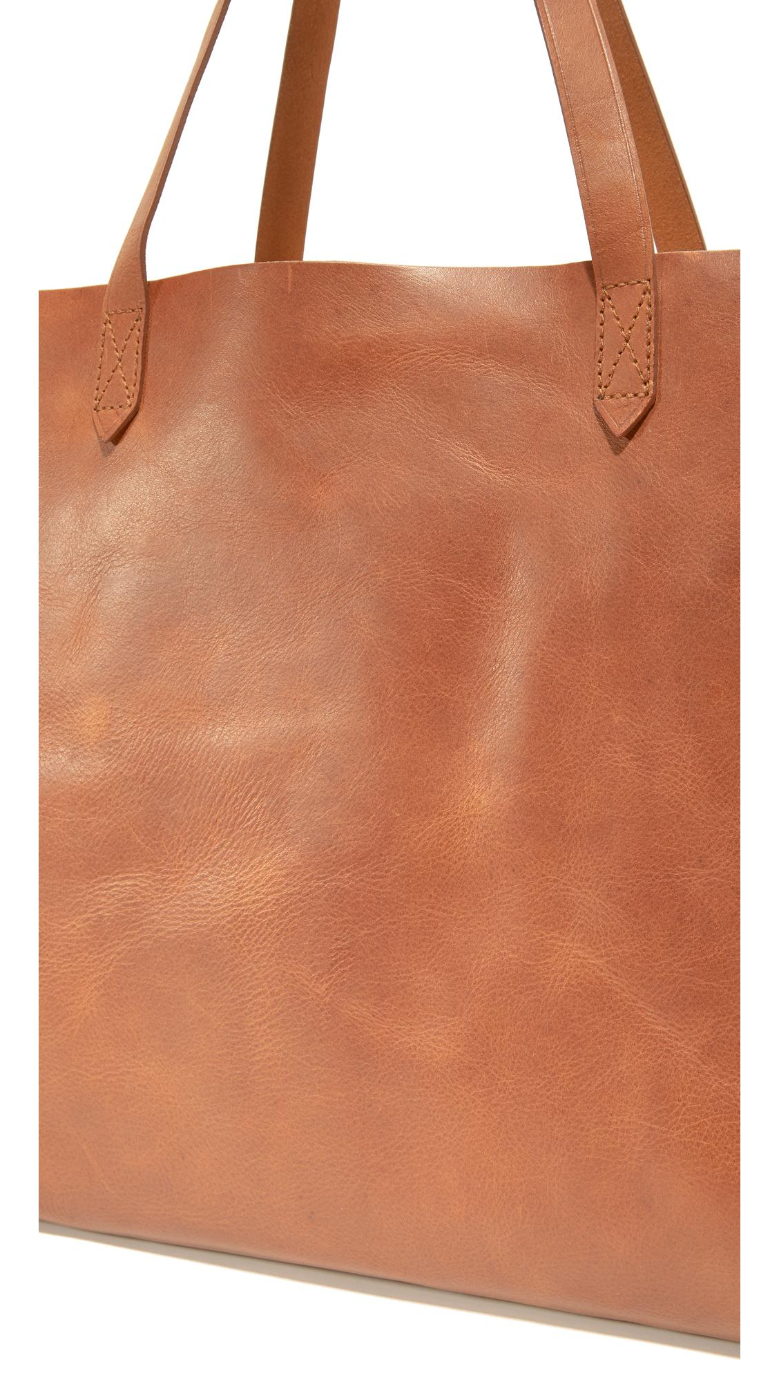 Madewell Leather East / West Transport Tote in Brown