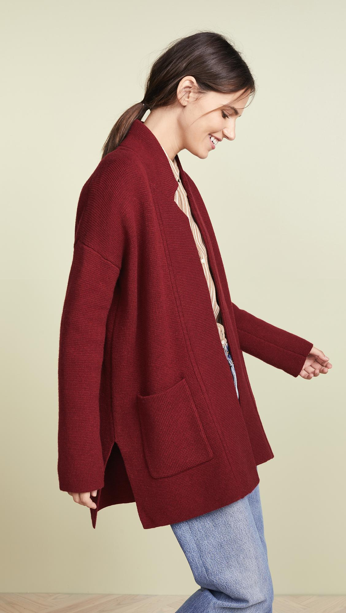 Madewell Hester Sweater Coat In Red Lyst