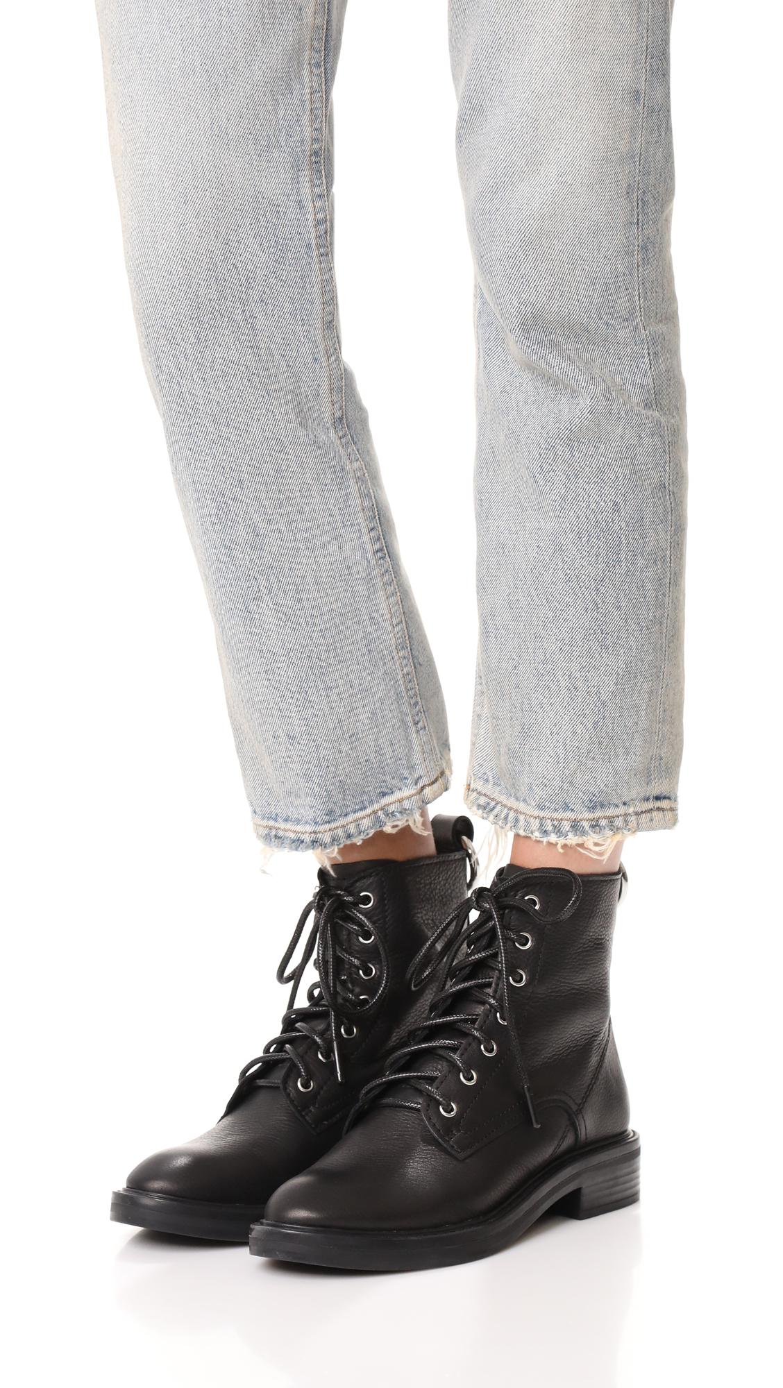 Dolce Vita Leather Bardot Combat Boots in Black
