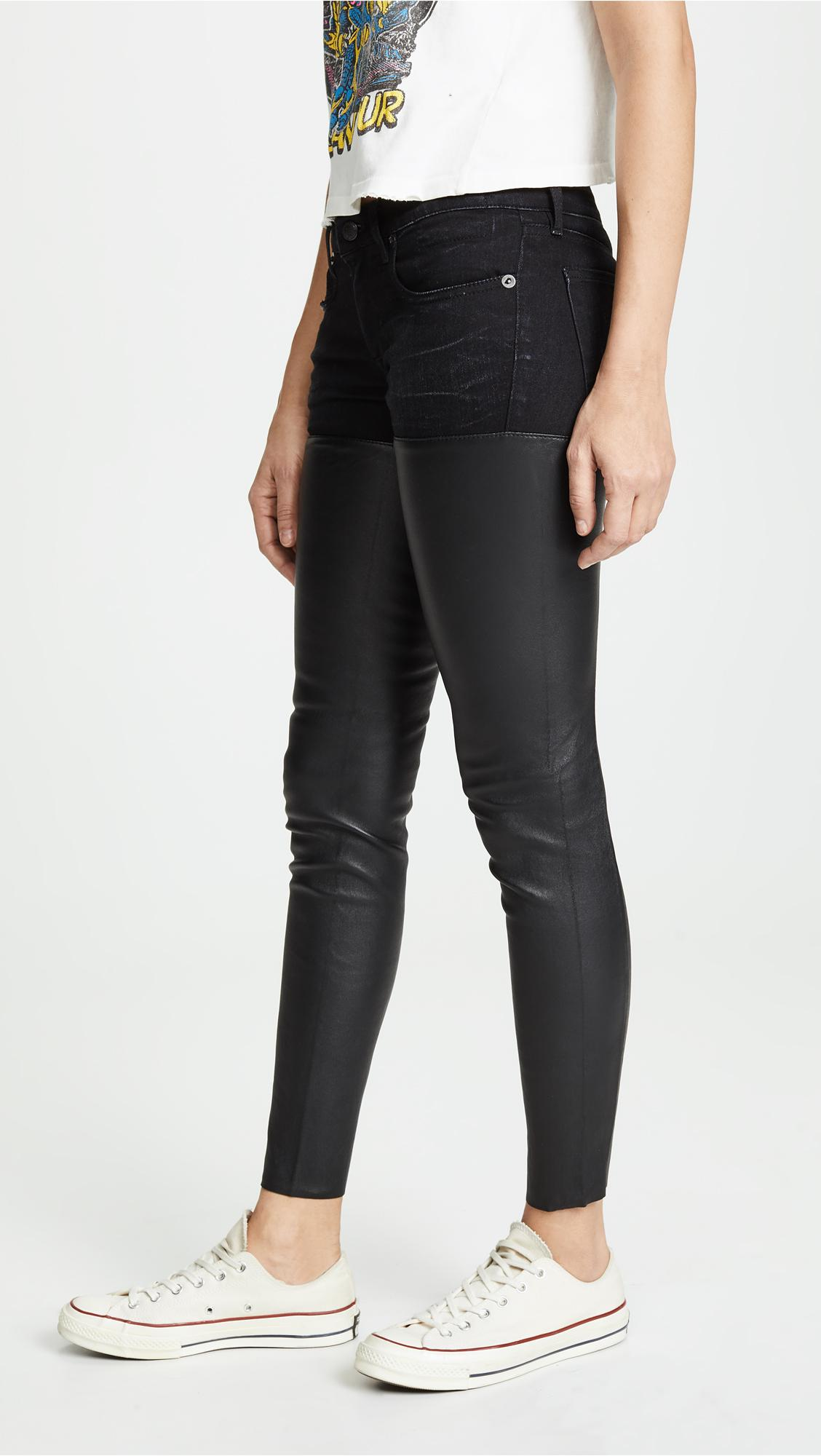 R13 Leather Chaps Jeans in Black
