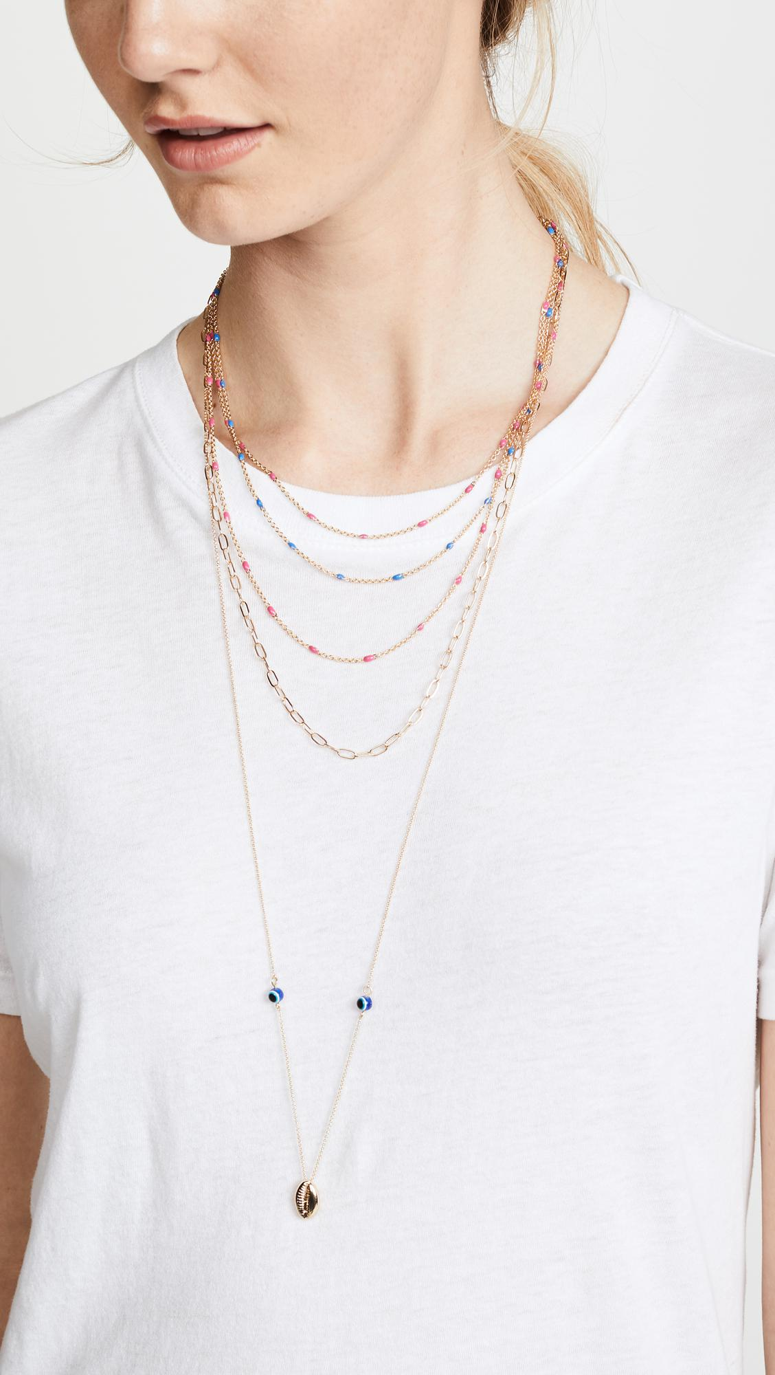 Rebecca Minkoff Beachy Layered Chains Necklace in Gold (Metallic)