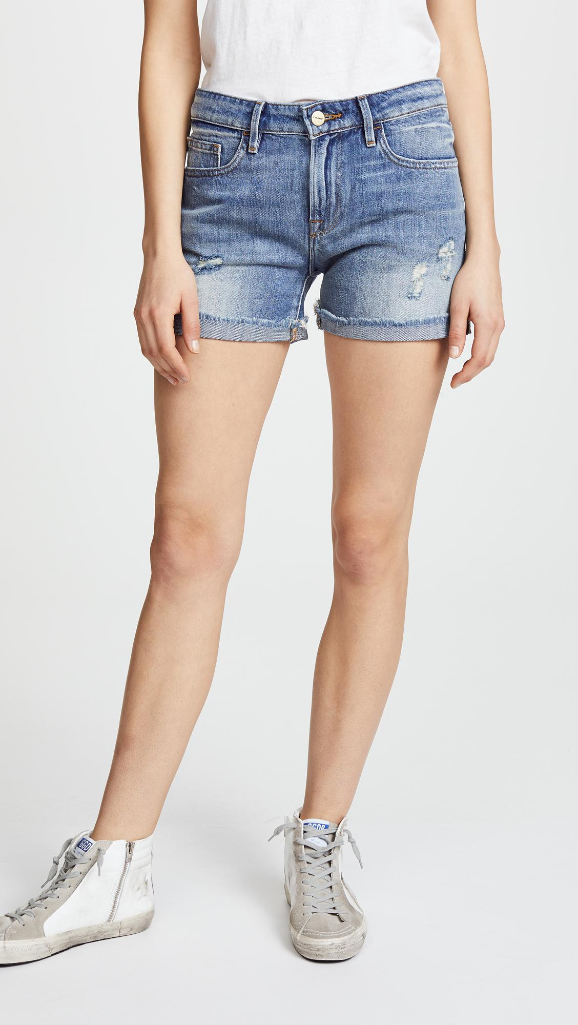 0aa237a1fa Frame Le Grand Garcon Shorts With Rivets in Blue - Lyst