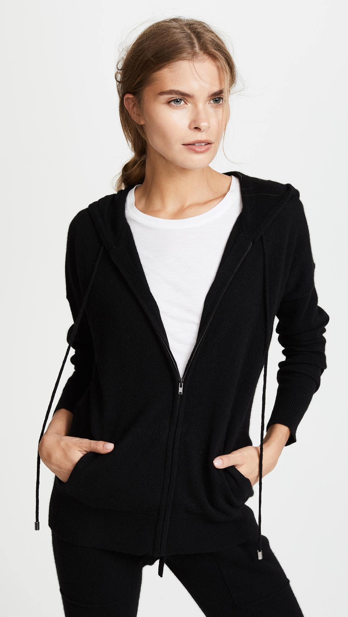 Black hoodie white zipper