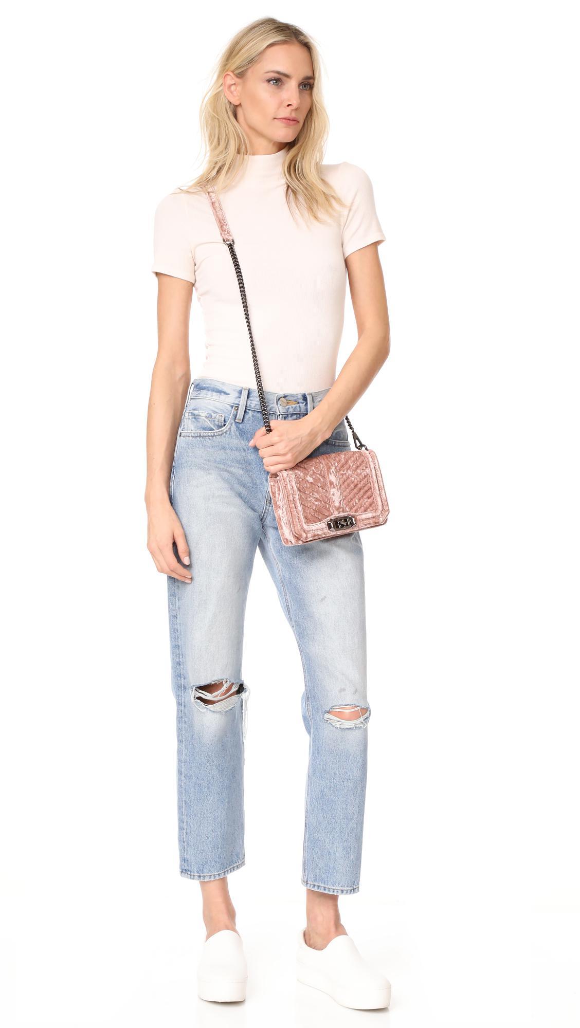 Rebecca Minkoff Velvet Chevron Quilted Small Love Cross Body Bag