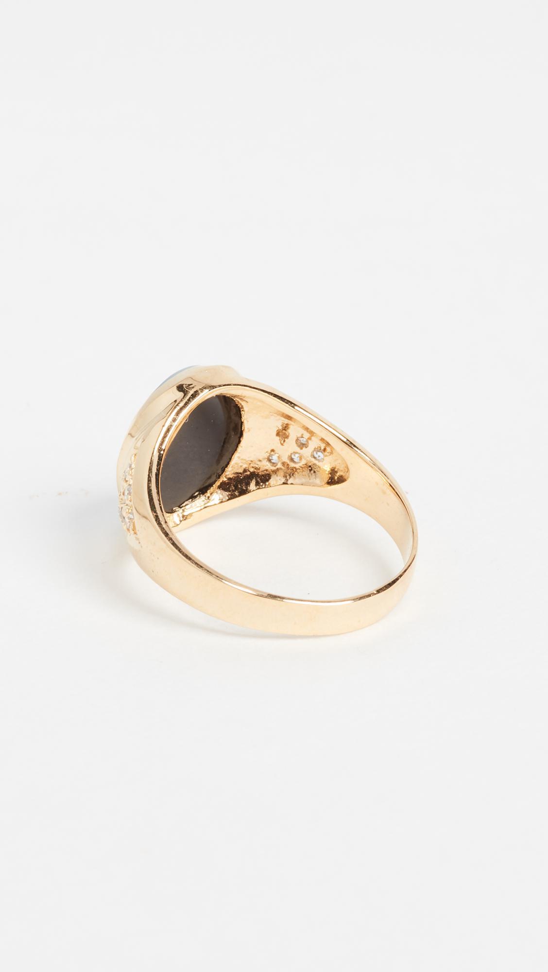 Jacquie Aiche Ja Small Daisy Ring in Gold/Blue (Metallic)