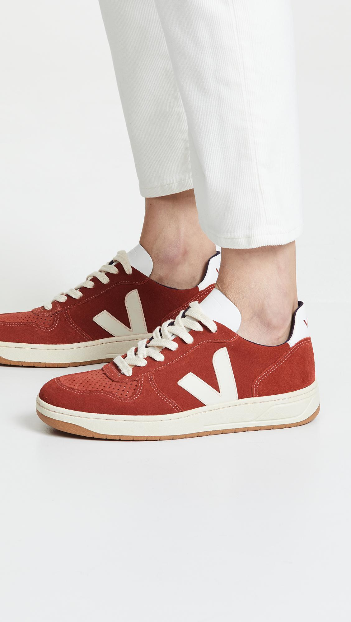 Veja Leather V-10 Sneakers in Red - Lyst