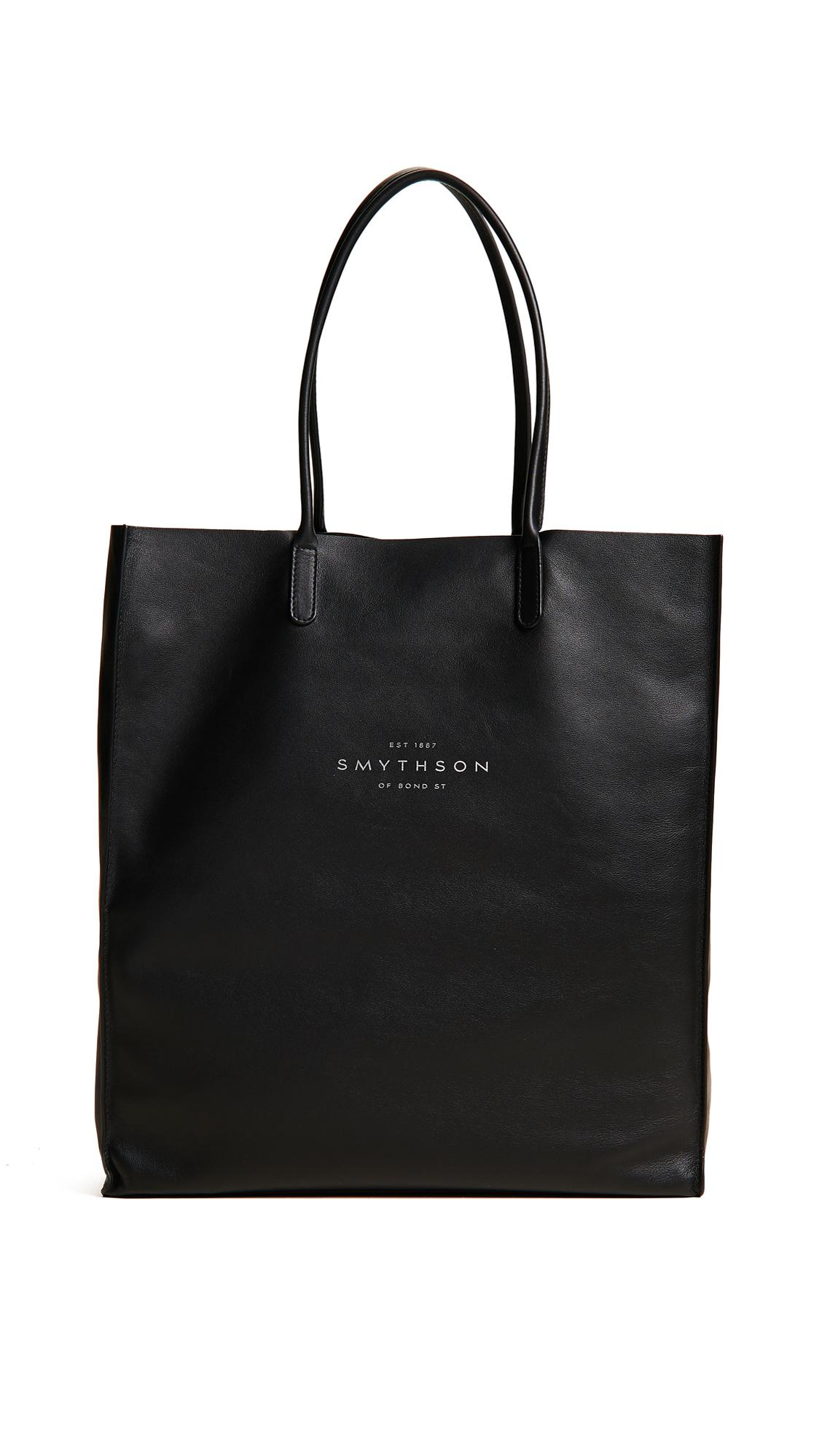 Smythson Leather Kingly North South Tote in Black