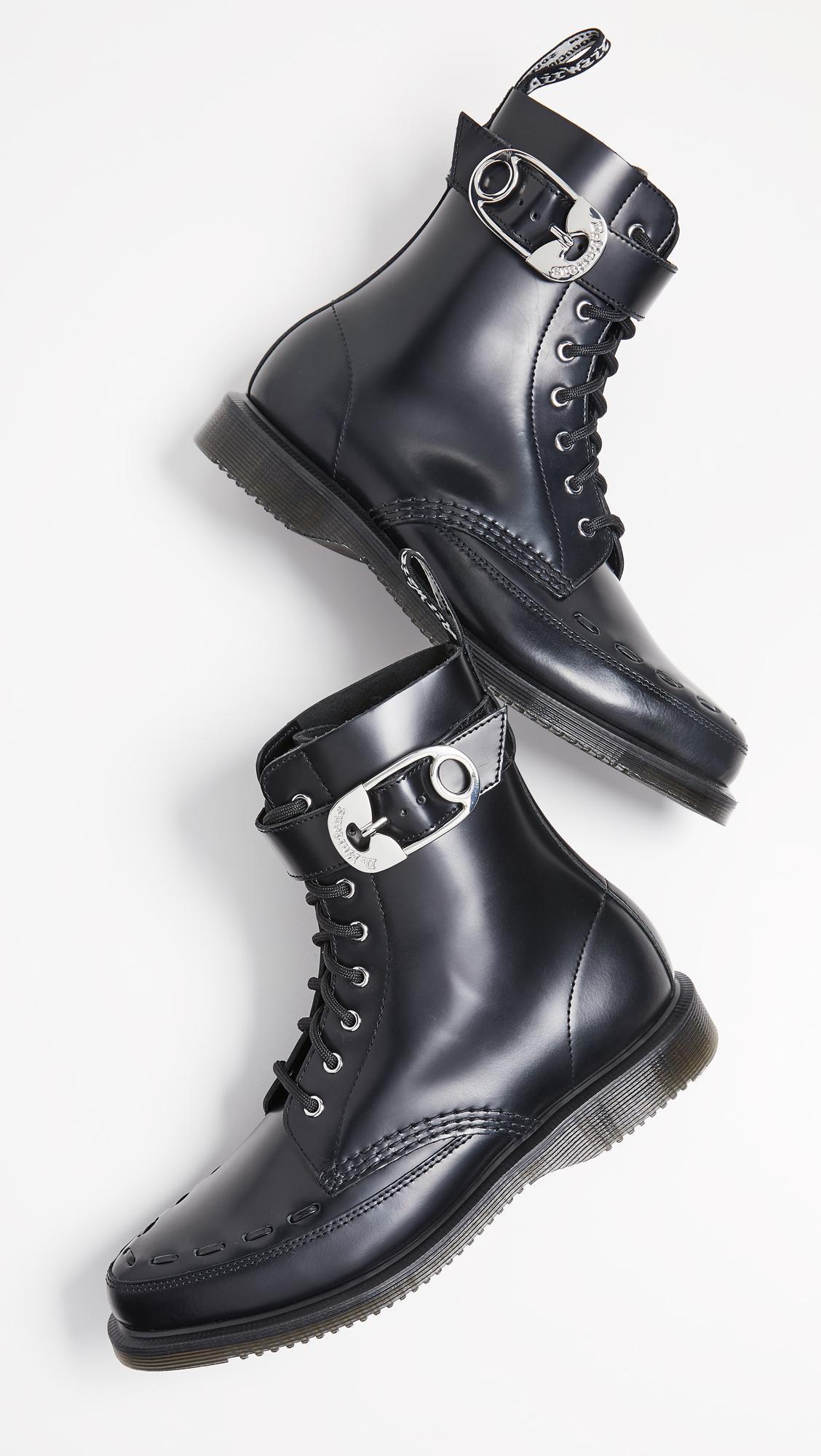 Dr. Martens Leather Geordin 8 Eye Boots