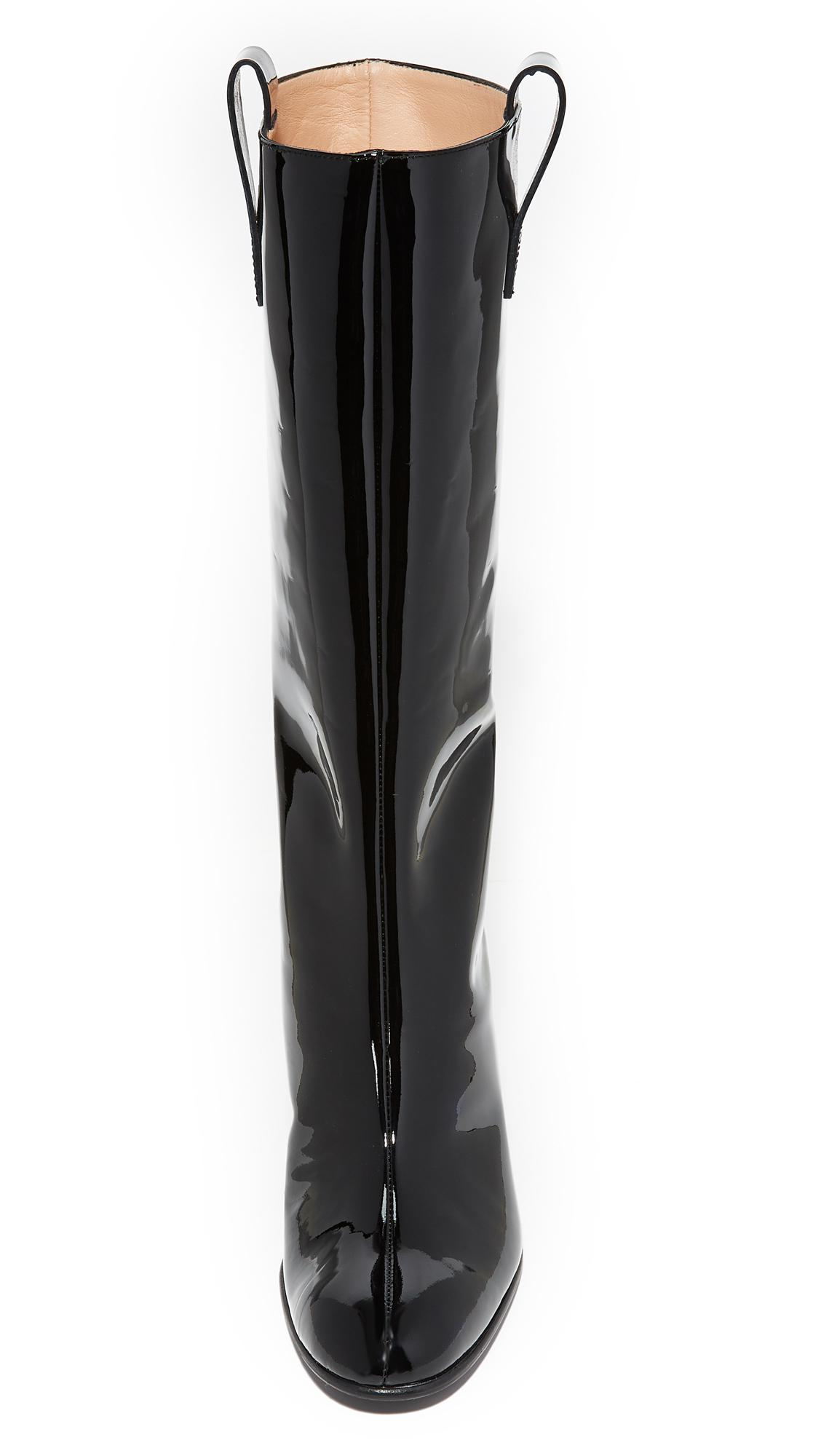 Acne Studios Leather Bamy Patent Boots in Black