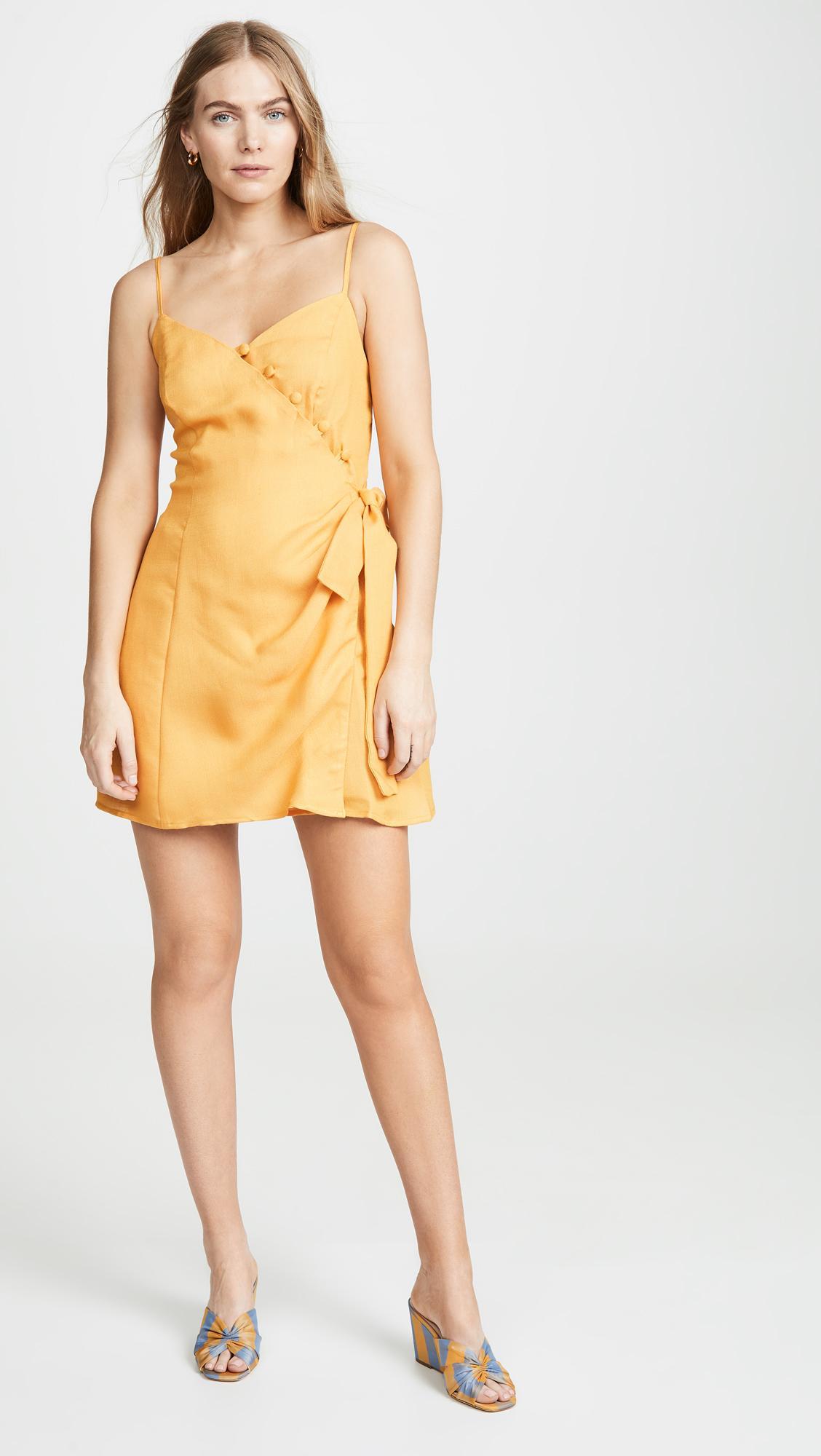 e32827d895bc Lyst - Moon River Tangerine Mini Dress in Yellow