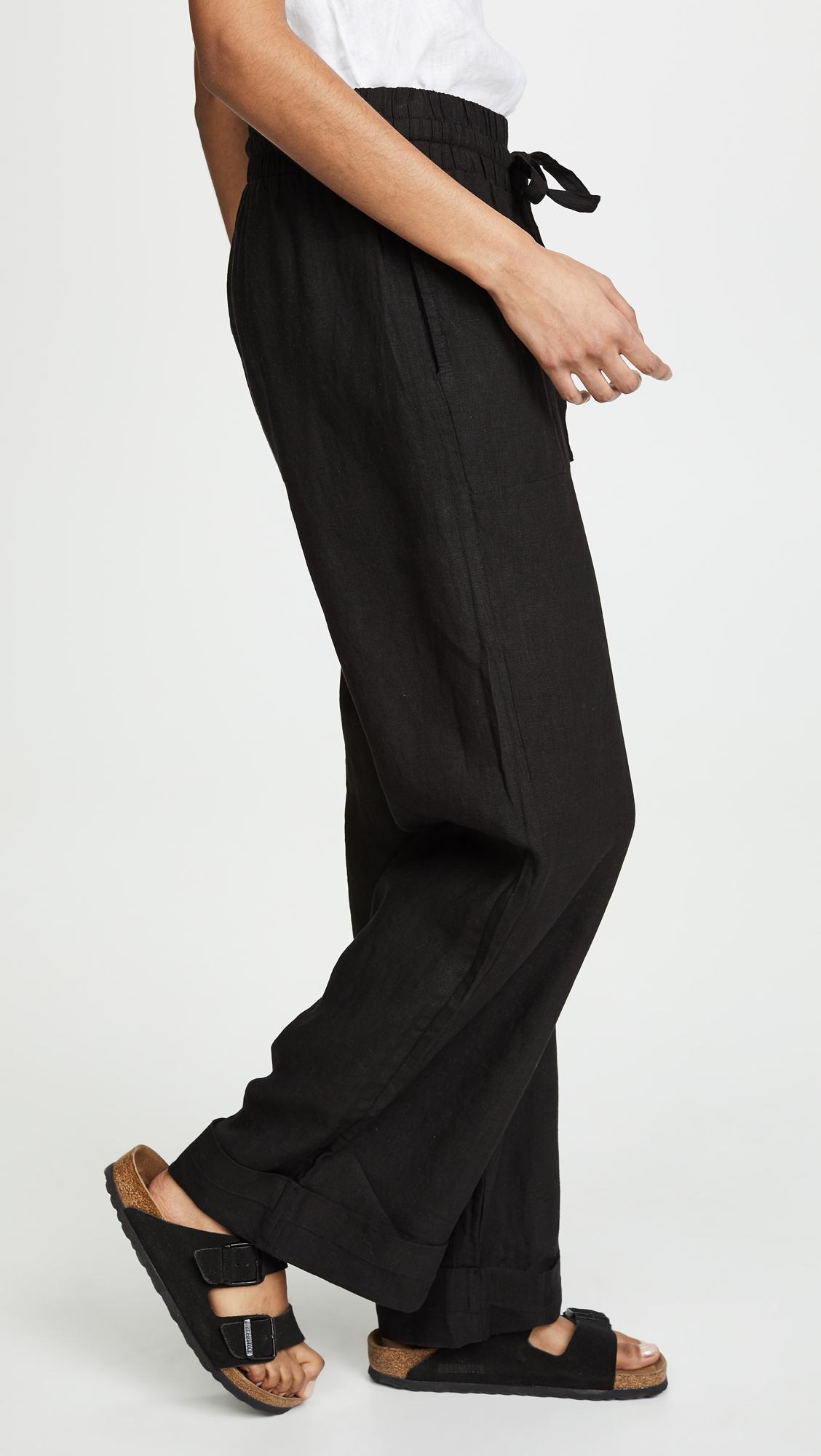 8d9779623f Three Dots - Black Cuffed Linen Beach Pants - Lyst. View fullscreen