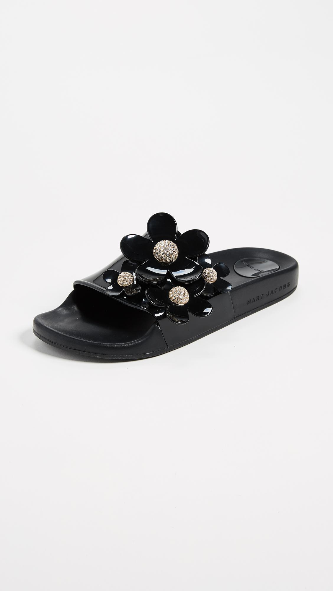 Marc Jacobs Black Daisy Pavé Aqua Slides