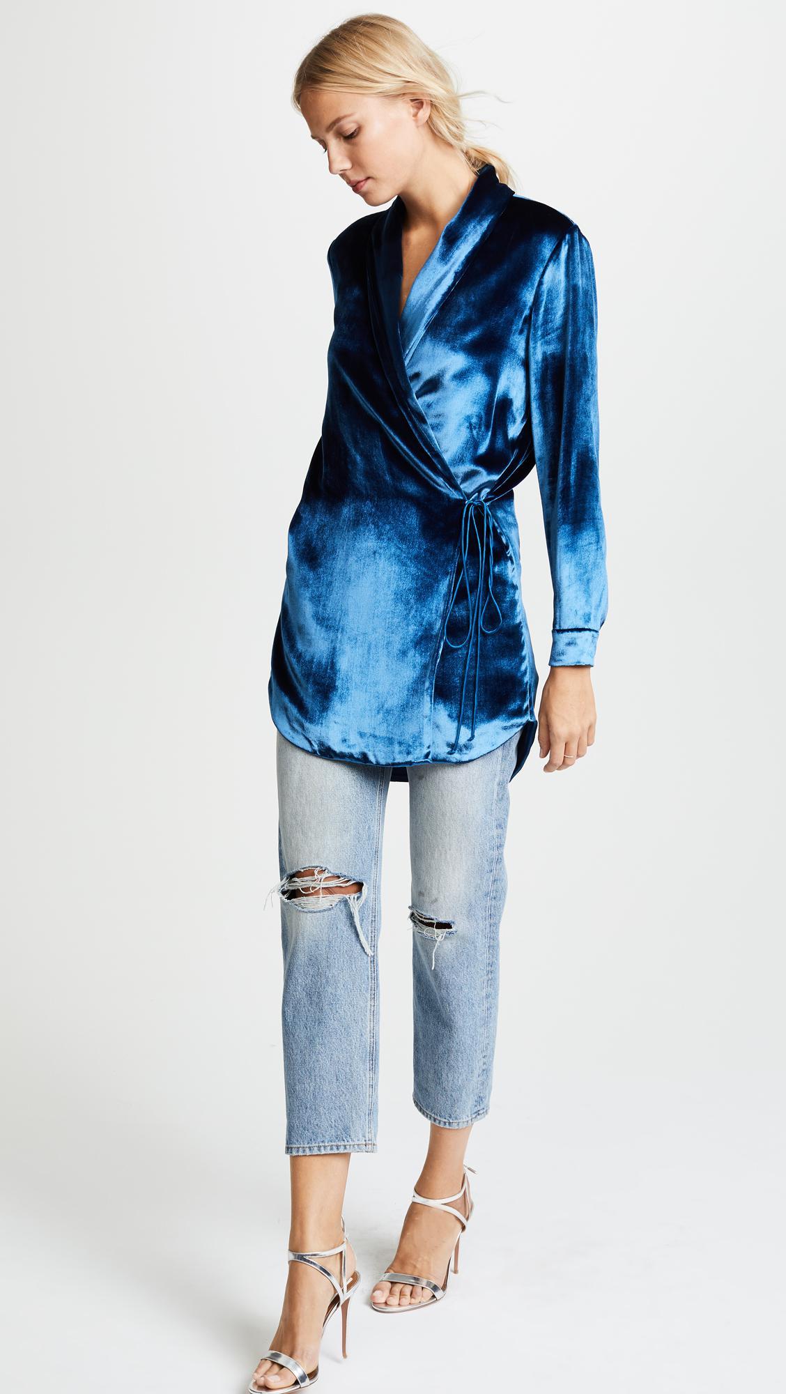 Michelle Mason Velvet Wrap Jacket Dress In Marine Blue