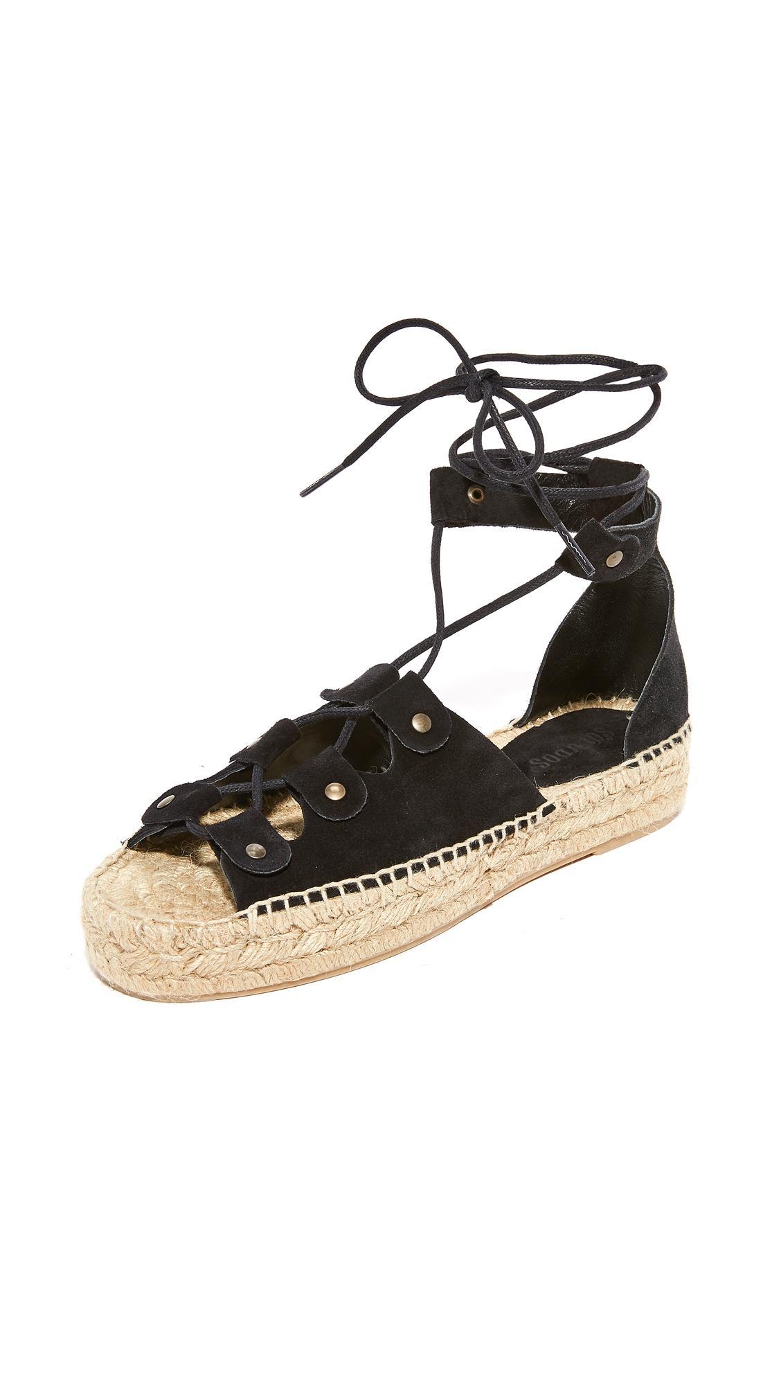 7c3ce50ae69d Soludos Ghillie Platform Sandals in Black - Lyst