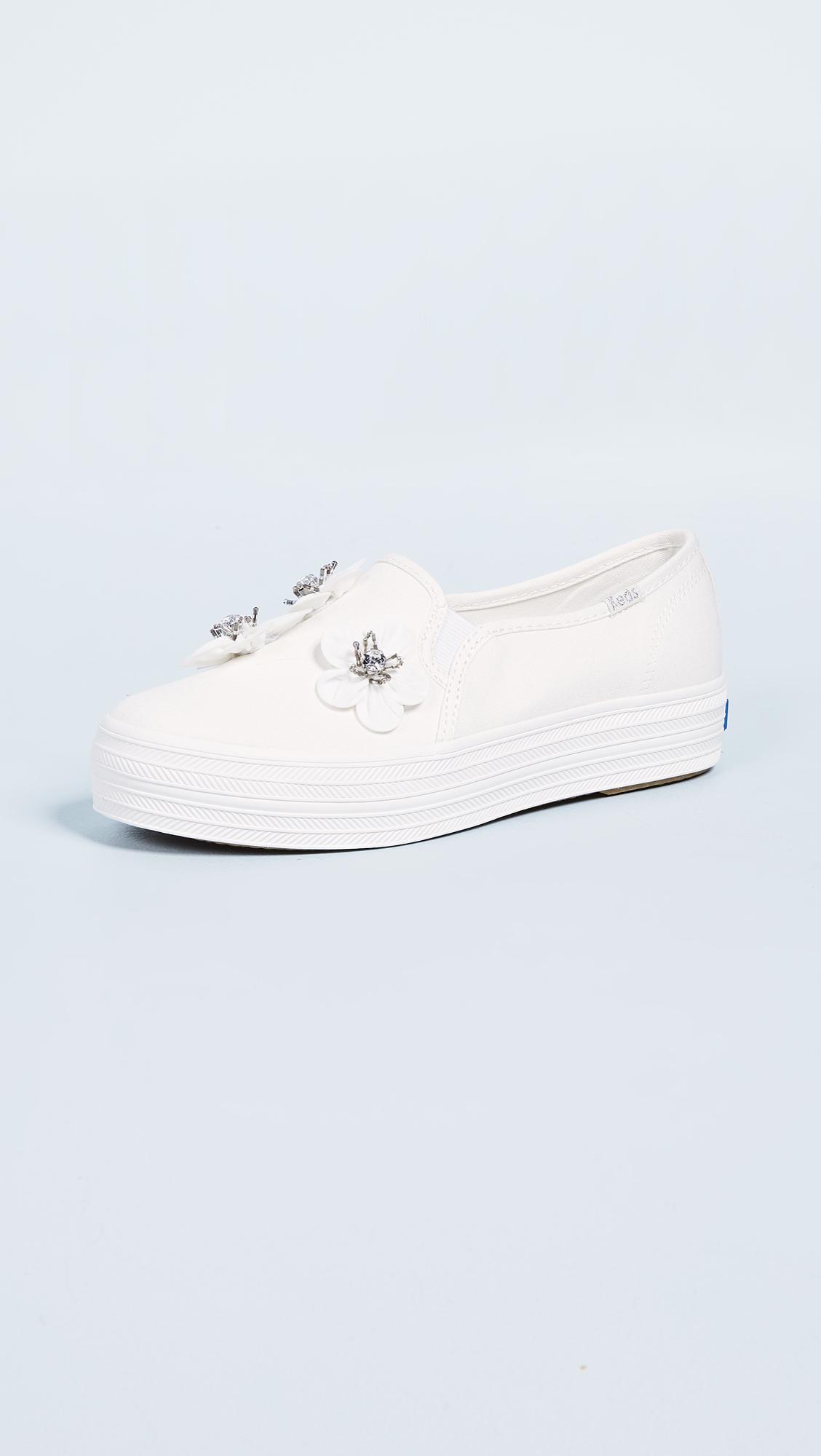 Keds Canvas X Kate Spade Triple Decker Flowers Slip On Sneakers in White