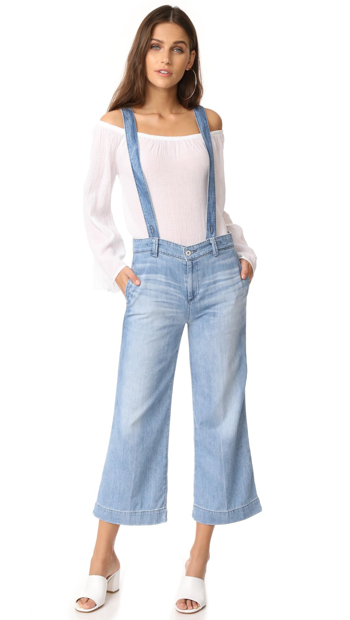 8dfdc9b442fe Lyst - AG Jeans The James Suspender Wide Leg Crop Overalls in Blue