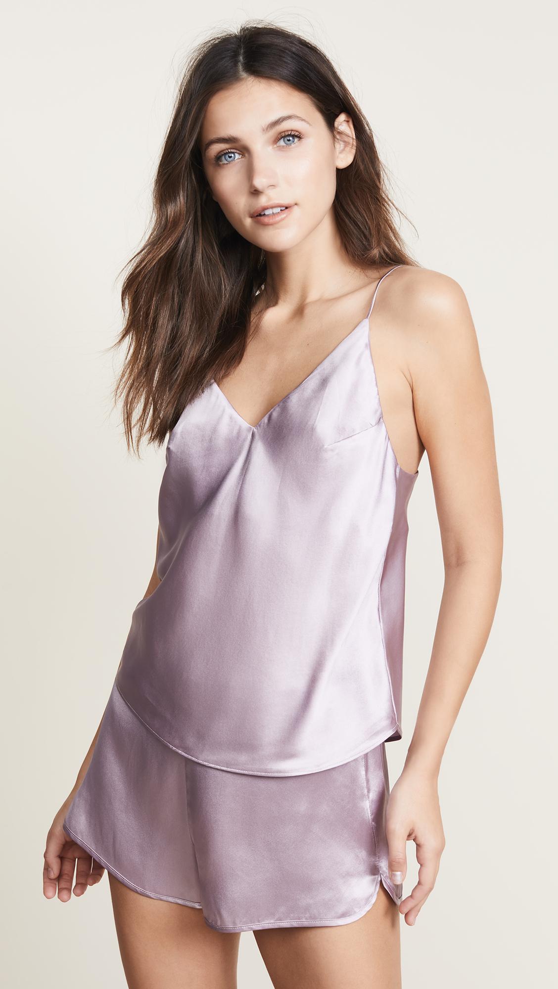 Luxe V-Neck Cami in Purple Fleur du Mal Sale Professional TS6OAP4Oq