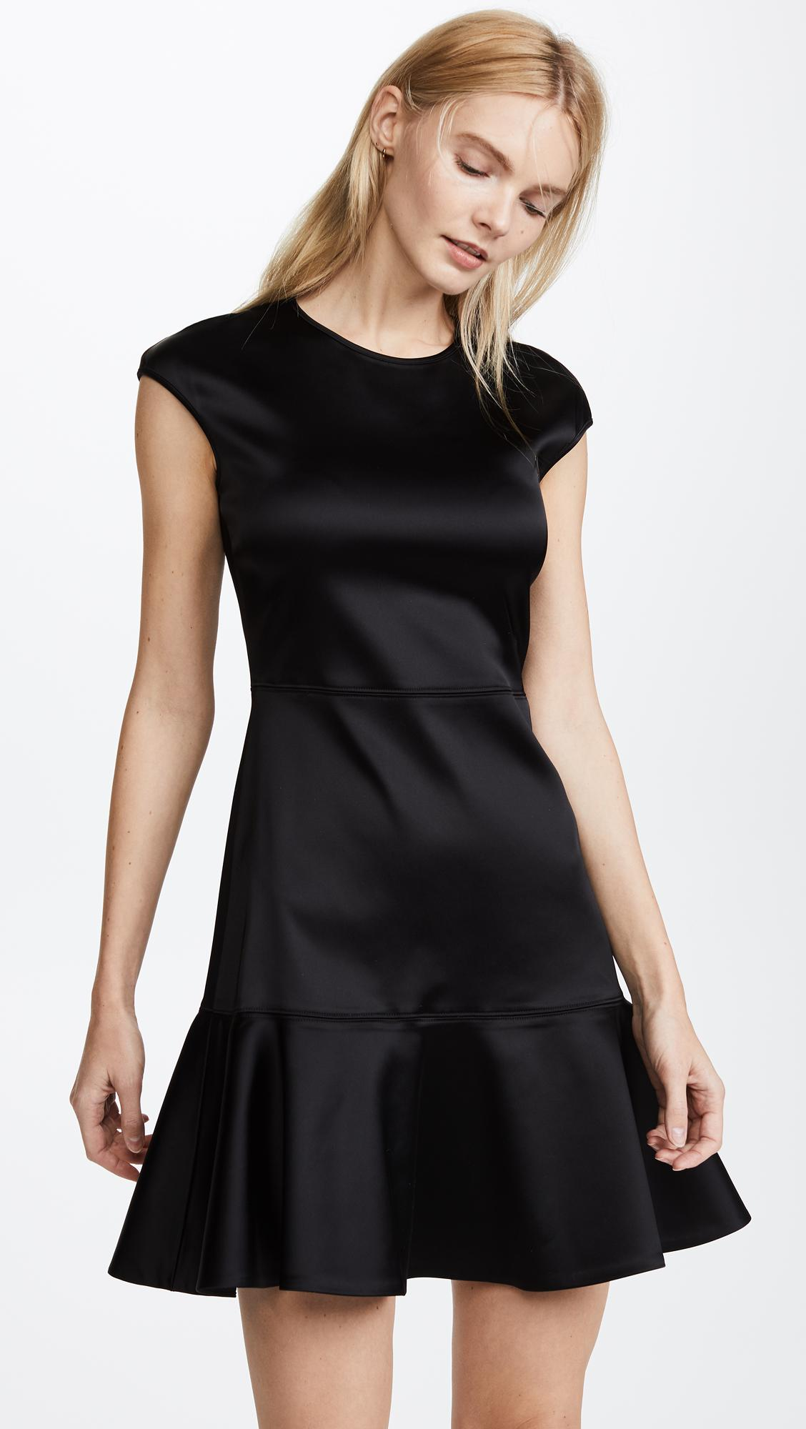 Lyst Theory Essential Flare Dress In Black