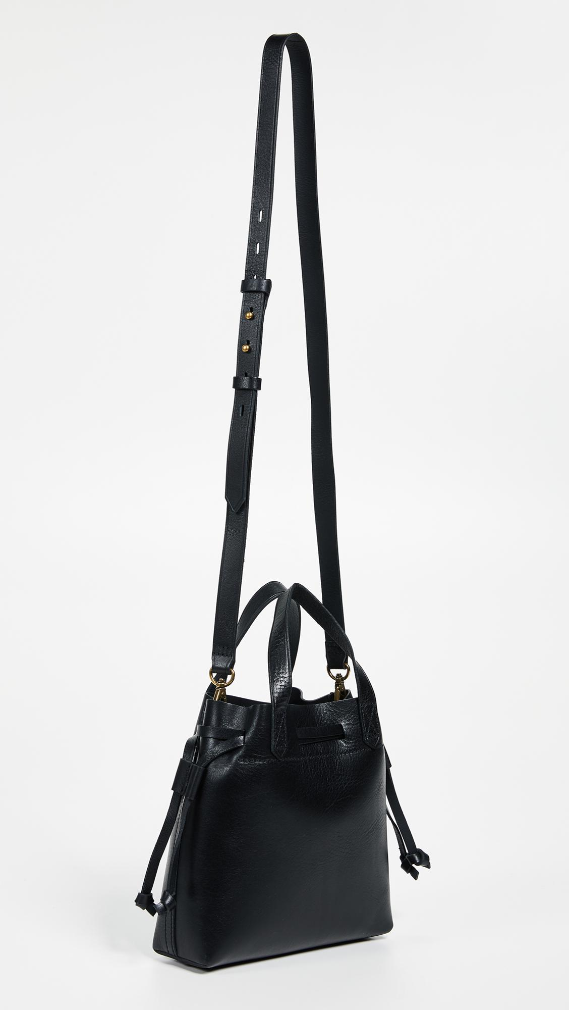 Madewell Leather Mini Pocket Transport Tote Drawcord in Black