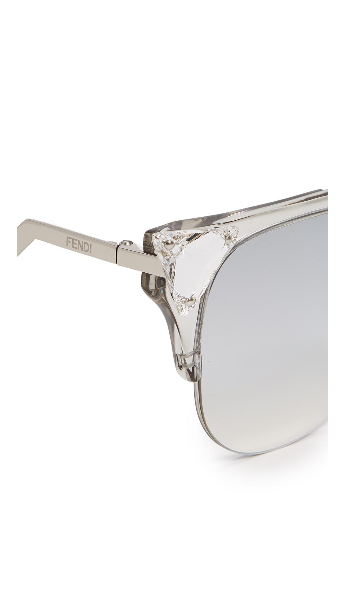 b1e44f2046bf Lyst - Fendi Iridia Crystal Corner Mirrored Sunglasses