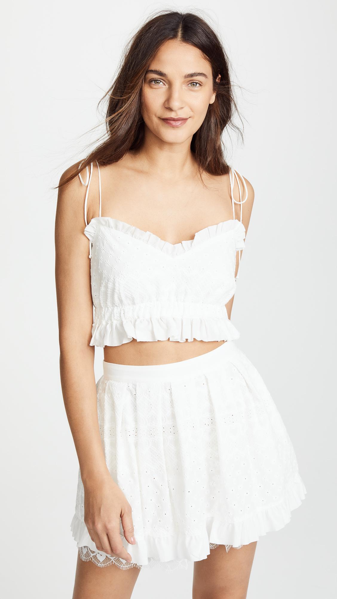 4893720f40 For Love   Lemons Charlotte Eyelet Tank Top in White - Lyst