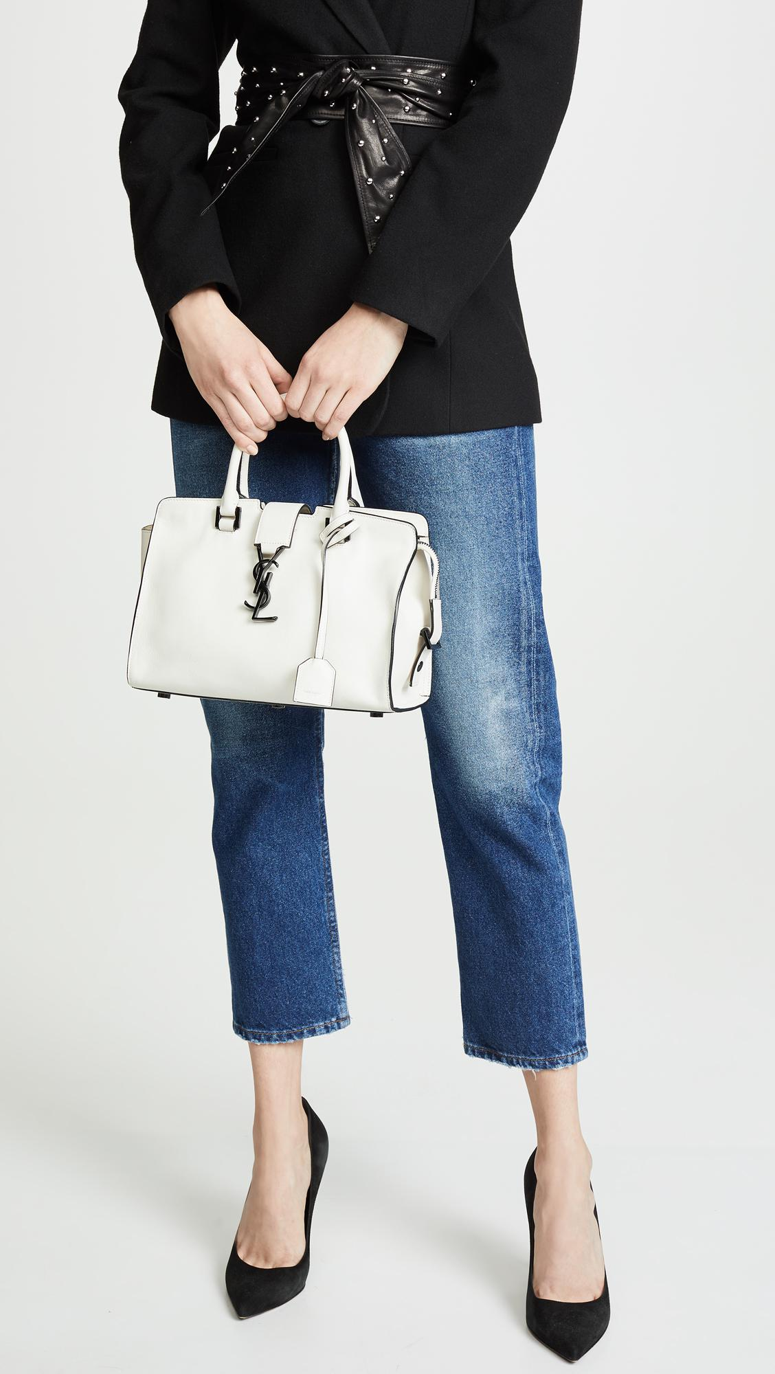 What Goes Around Comes Around - Ysl White Leather Baby Cabas Bag - Lyst.  View fullscreen 9c940c6a9cf7b
