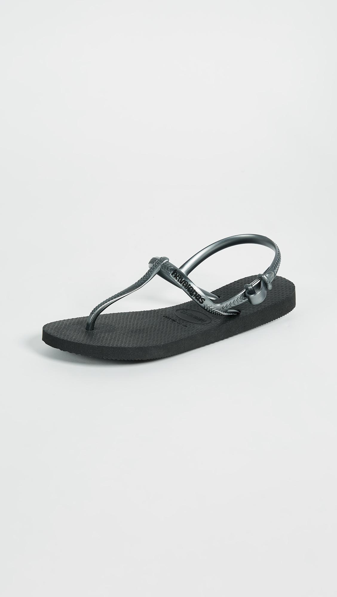 a6505d44535498 Havaianas Freedom T Strap Sandals in Black - Lyst