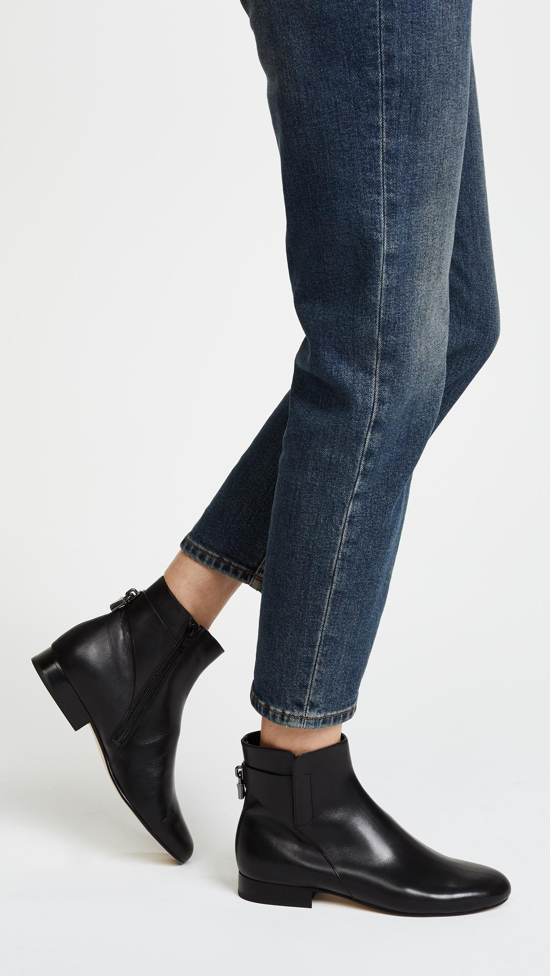 MICHAEL Michael Kors Leather Mira Flat Ankle Booties in Black