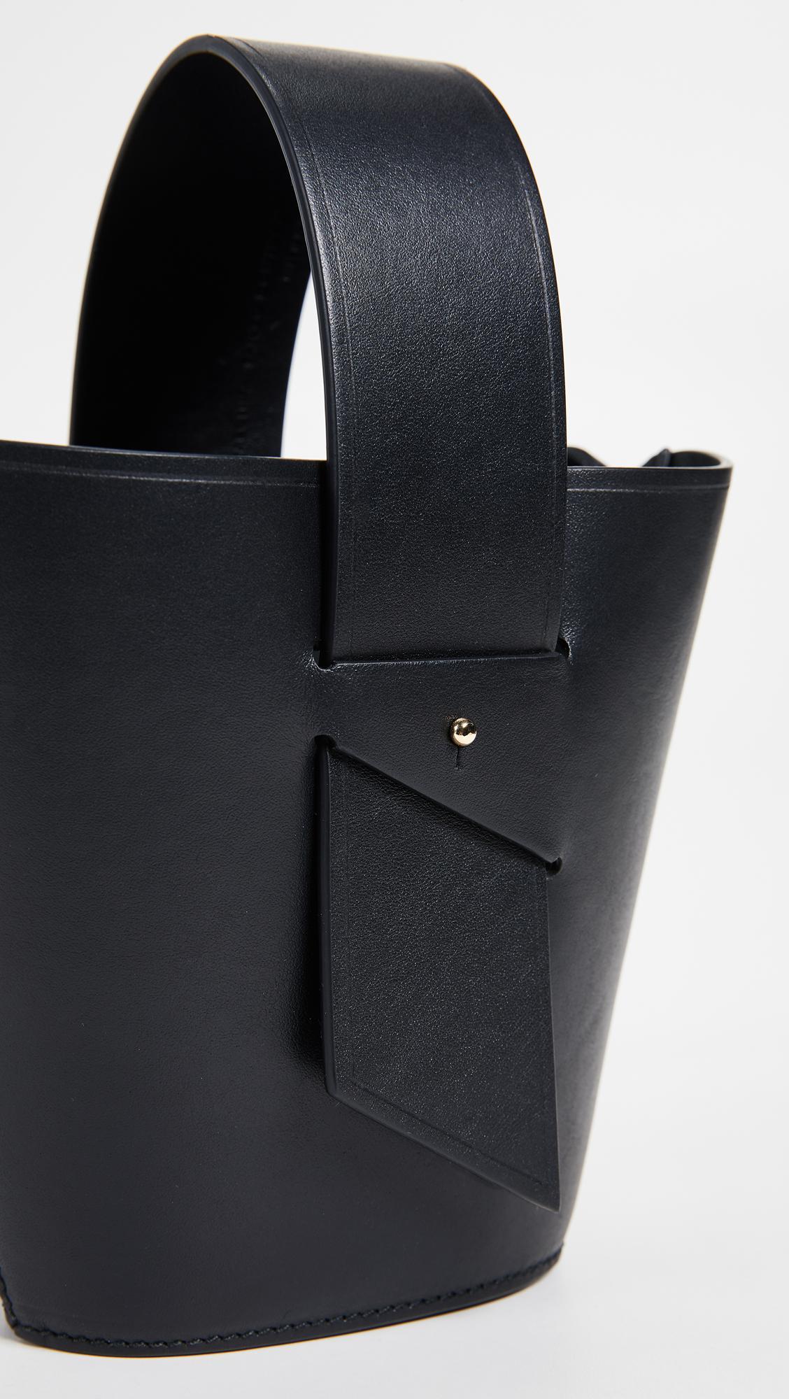 Carolina Santo Domingo Leather Amphora Mini Adjustable Cross Body Bag in Black