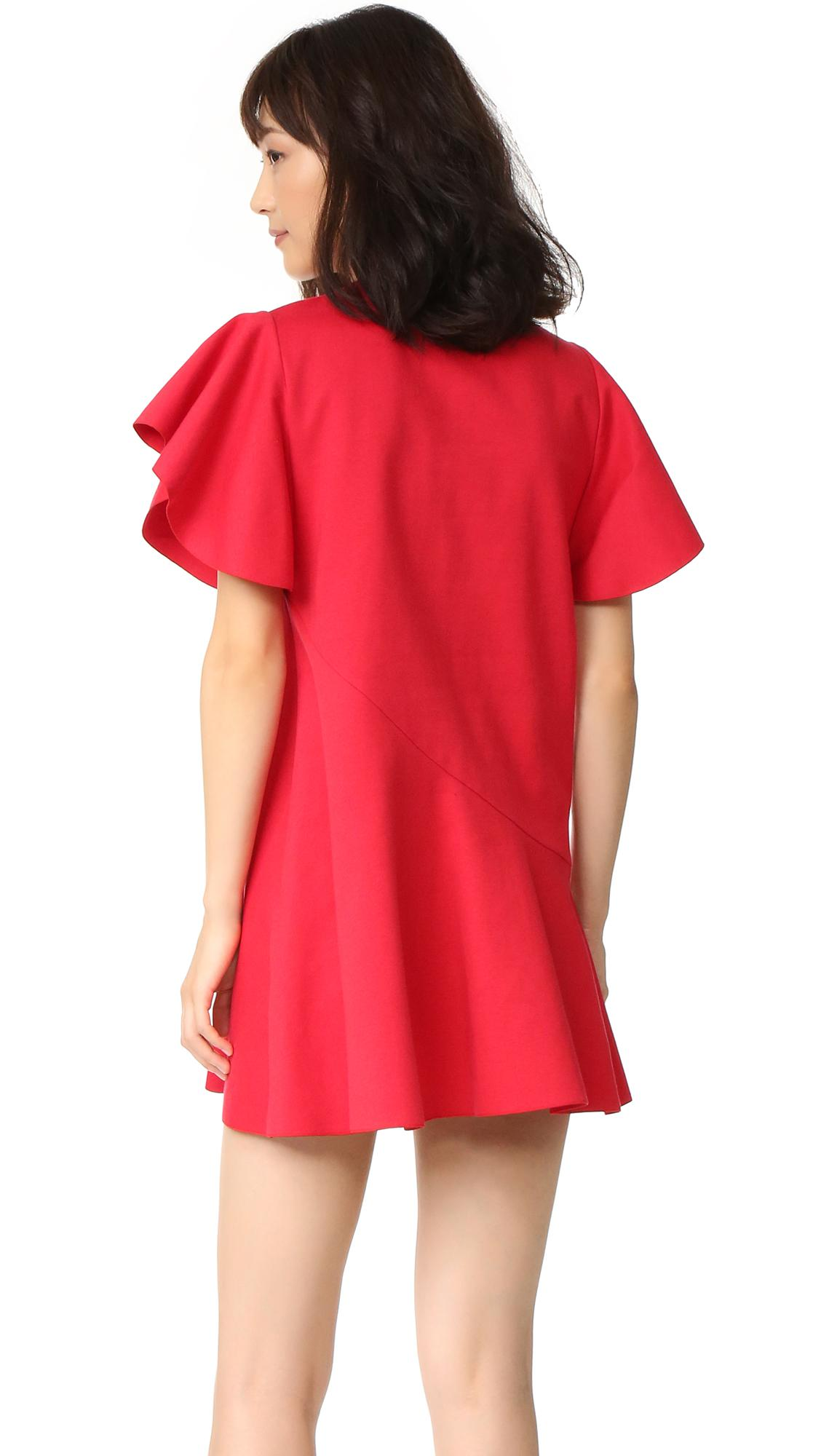 Goen J Cotton Ruffle Sleeve Dress In Red Lyst