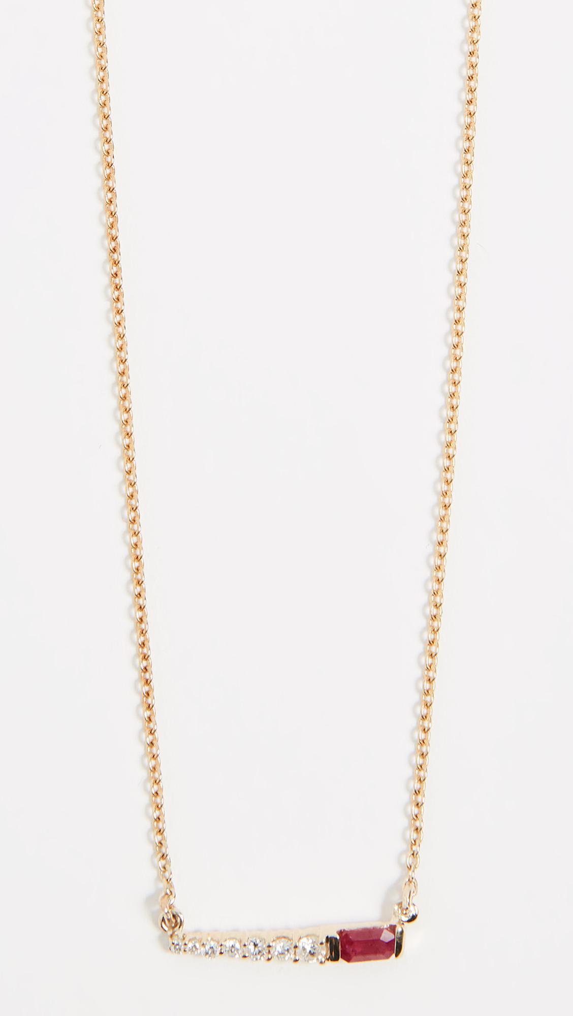 Eden Presley 14k Gold Mini Oval Stoned Bar Necklace yO501DkXt
