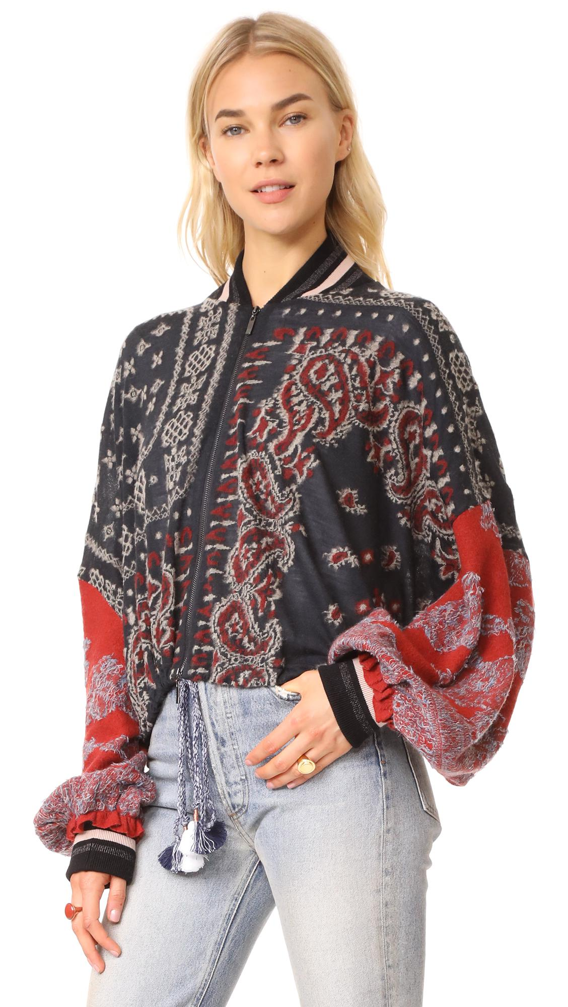 Lyst Free People Paisley Pattern Bomber In Black