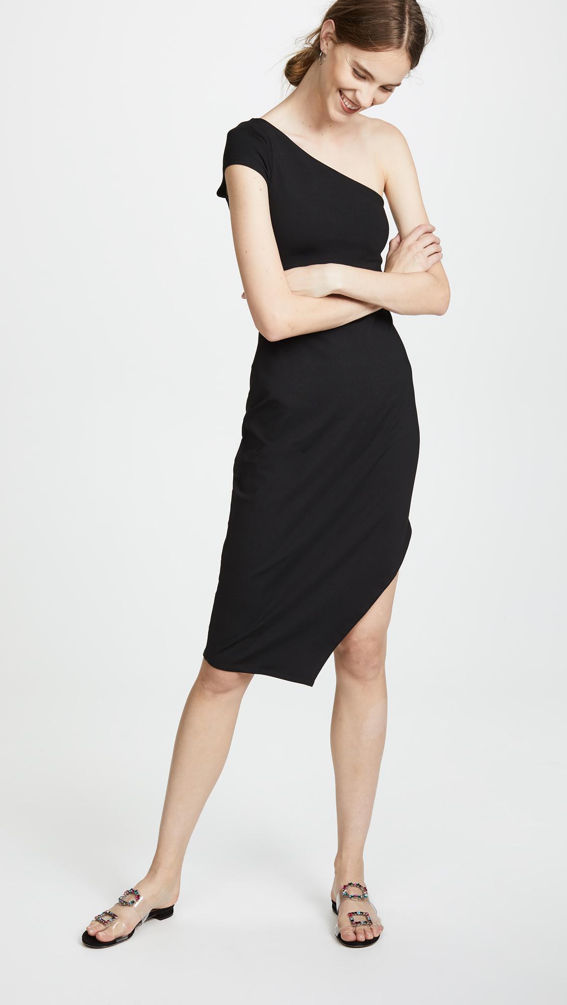 93b4fceace Lyst - Susana Monaco One Shoulder Dress With Side Slit in Black