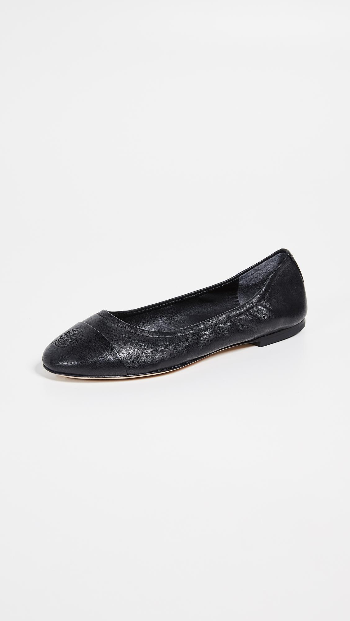 5c281274b Lyst - Tory Burch Cap Toe Ballet Flats in Black