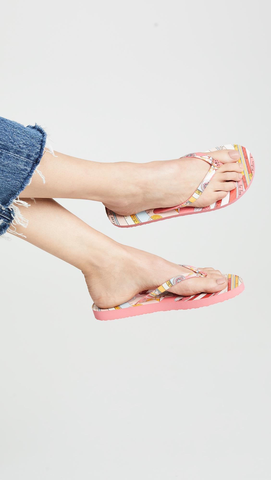 c14ff74c5ecf86 Tory Burch - Pink Printed Thin Flip-flops - Lyst. View fullscreen